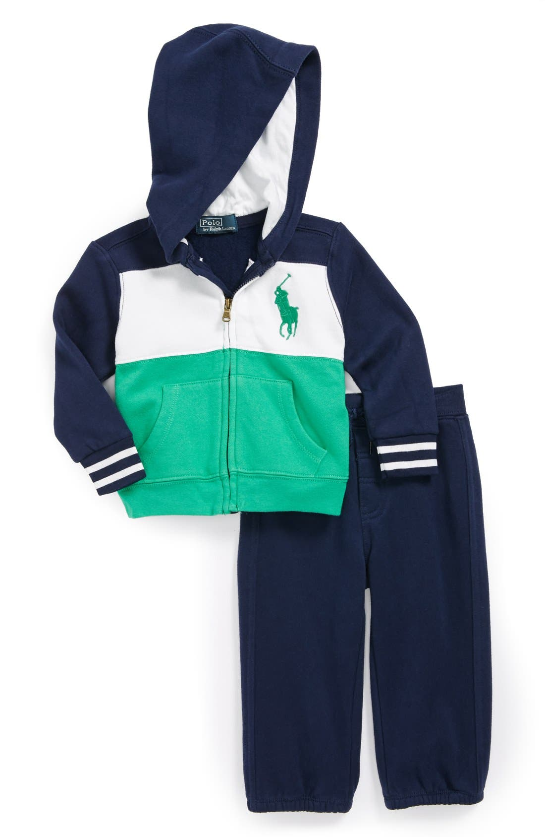 Alternate Image 1 Selected - Ralph Lauren Hoodie & Sweatpants (Baby Boys)