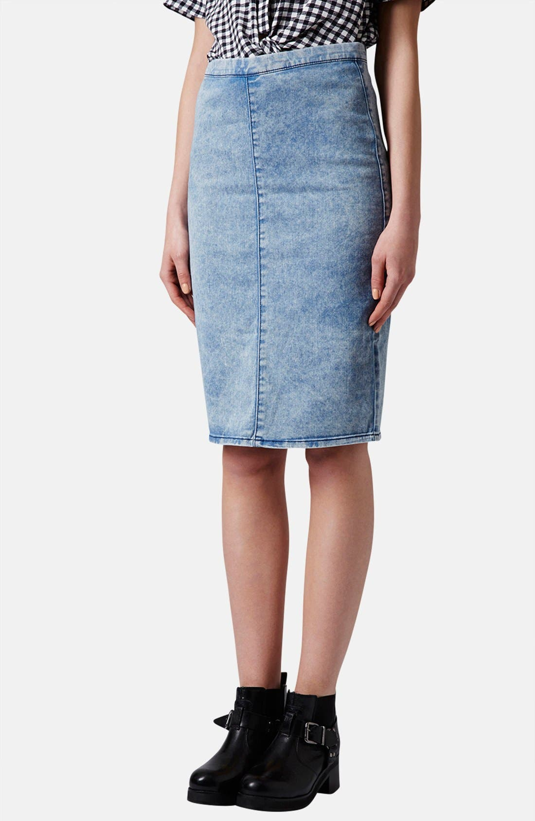 Main Image - Topshop Moto Acid Wash Denim Pencil Skirt