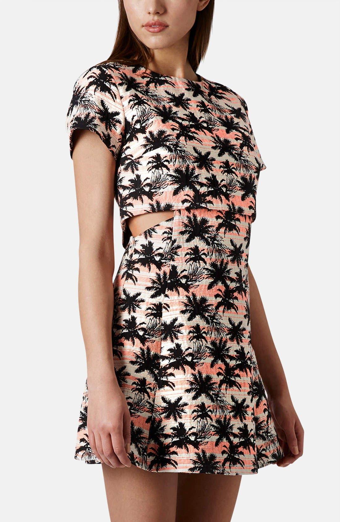 Main Image - Topshop Cutout Palm Jacquard Skater Dress