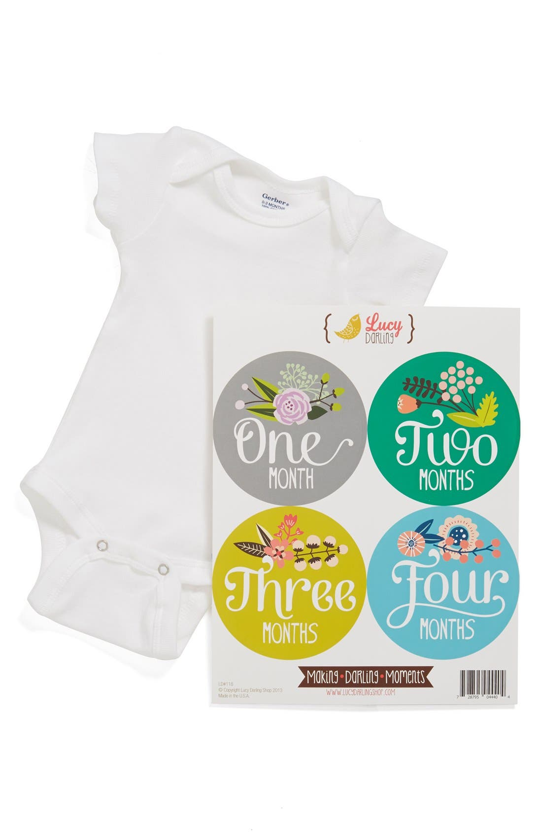 Alternate Image 1 Selected - Lucy Darling Bodysuit & Stickers (Baby Girls)