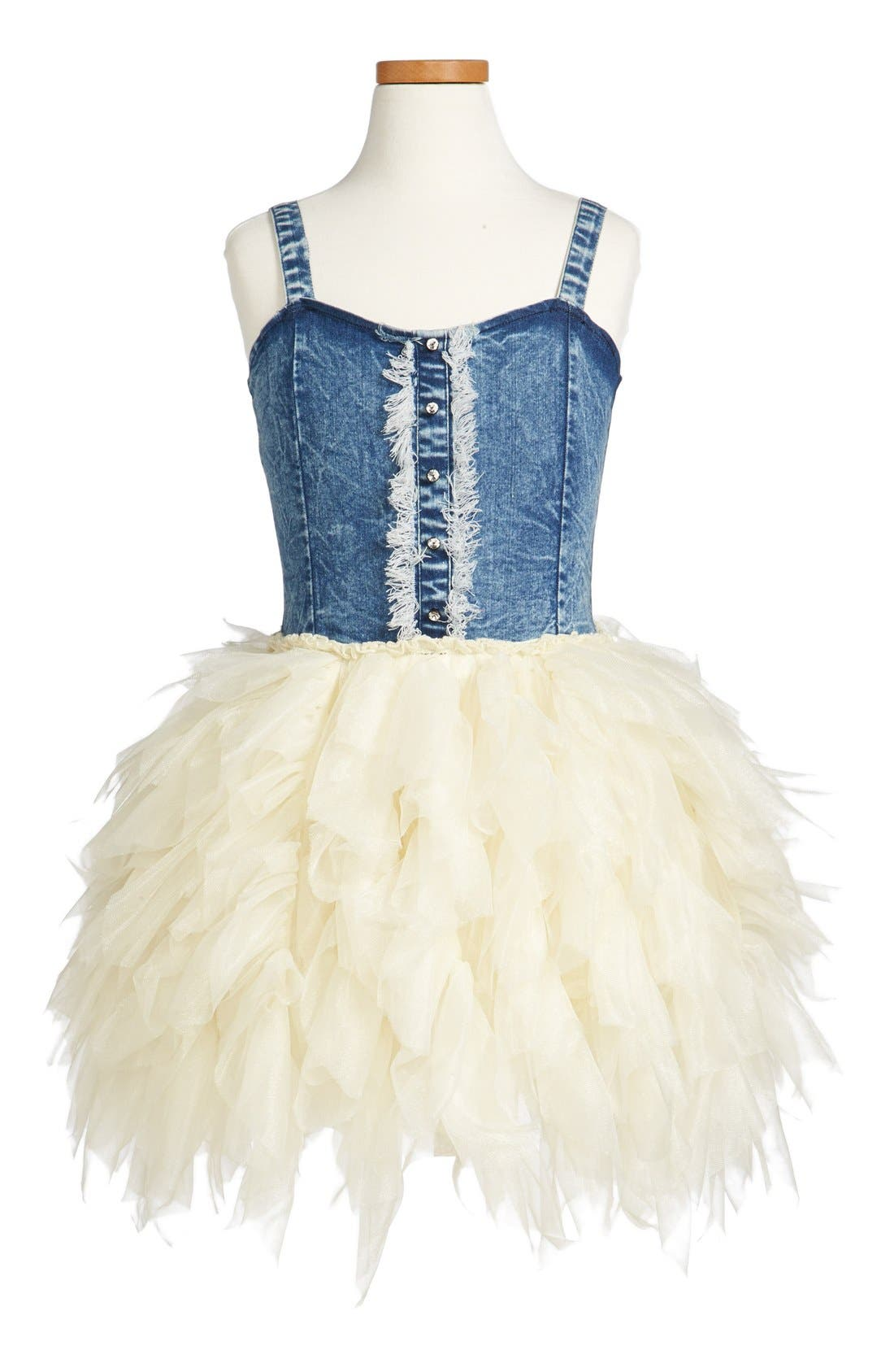 Alternate Image 1 Selected - Ooh! La, La! Couture Denim Tulle Dress (Big Girls)