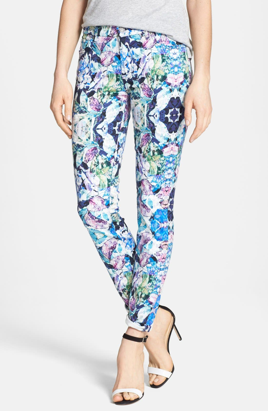 Main Image - 7 For All Mankind® 'The Skinny' Stretch Jeans (Kaleidoscope Floral)