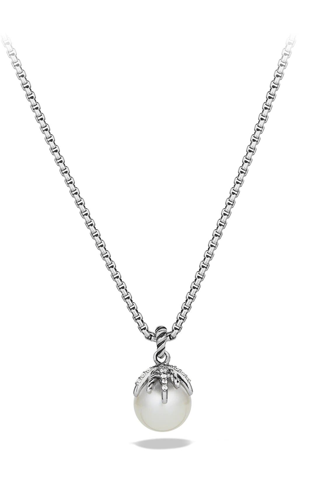 David Yurman 'Starburst' Pearl Pendant with Diamonds on Chain