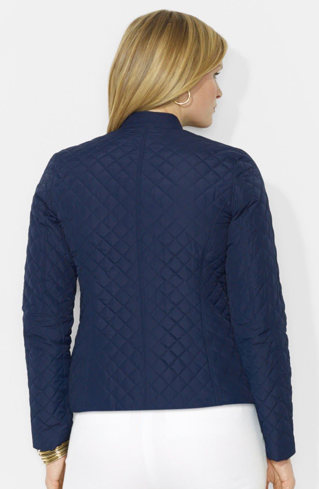 Alternate Image 2  - Lauren Ralph Lauren Quilted Zip Front Hip Length Jacket (Plus Size)