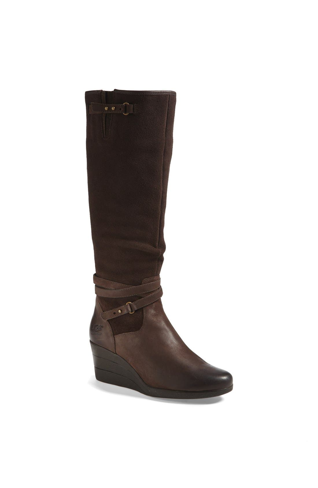 Main Image - UGG® 'Lesley' Waterproof Suede Wedge Knee High Boot (Women