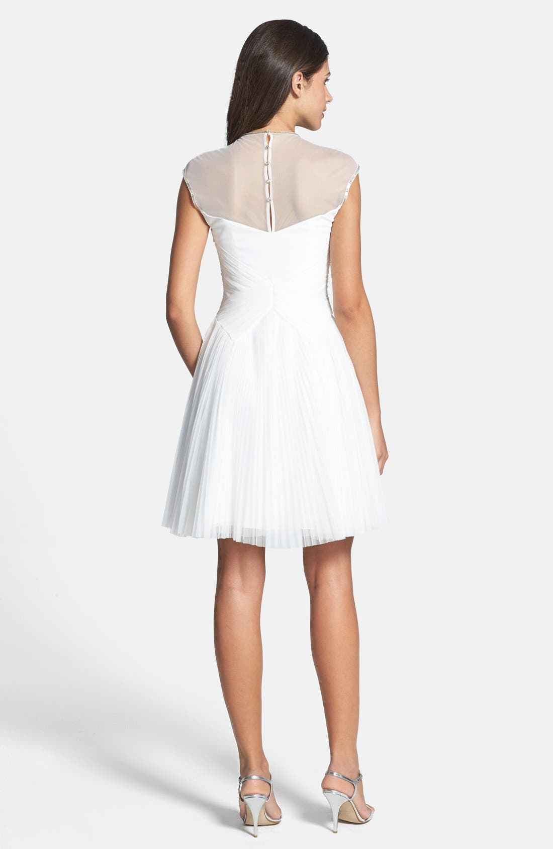 Alternate Image 2  - Ted Baker London 'Trixxy' Illusion Yoke Pleat Tulle Fit & Flare Dress