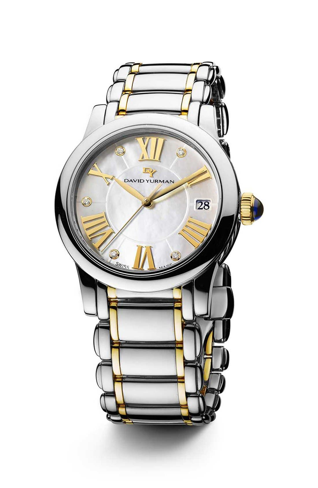 Alternate Image 1 Selected - David Yurman 'Classic' 34mm Quartz Watch, Steel & 18k Gold