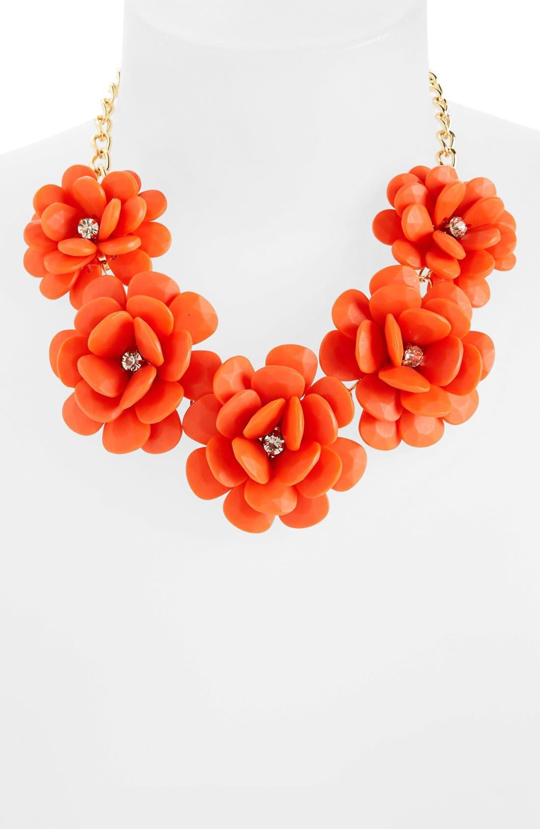 Alternate Image 1 Selected - Topshop Large Coral Flower Necklace