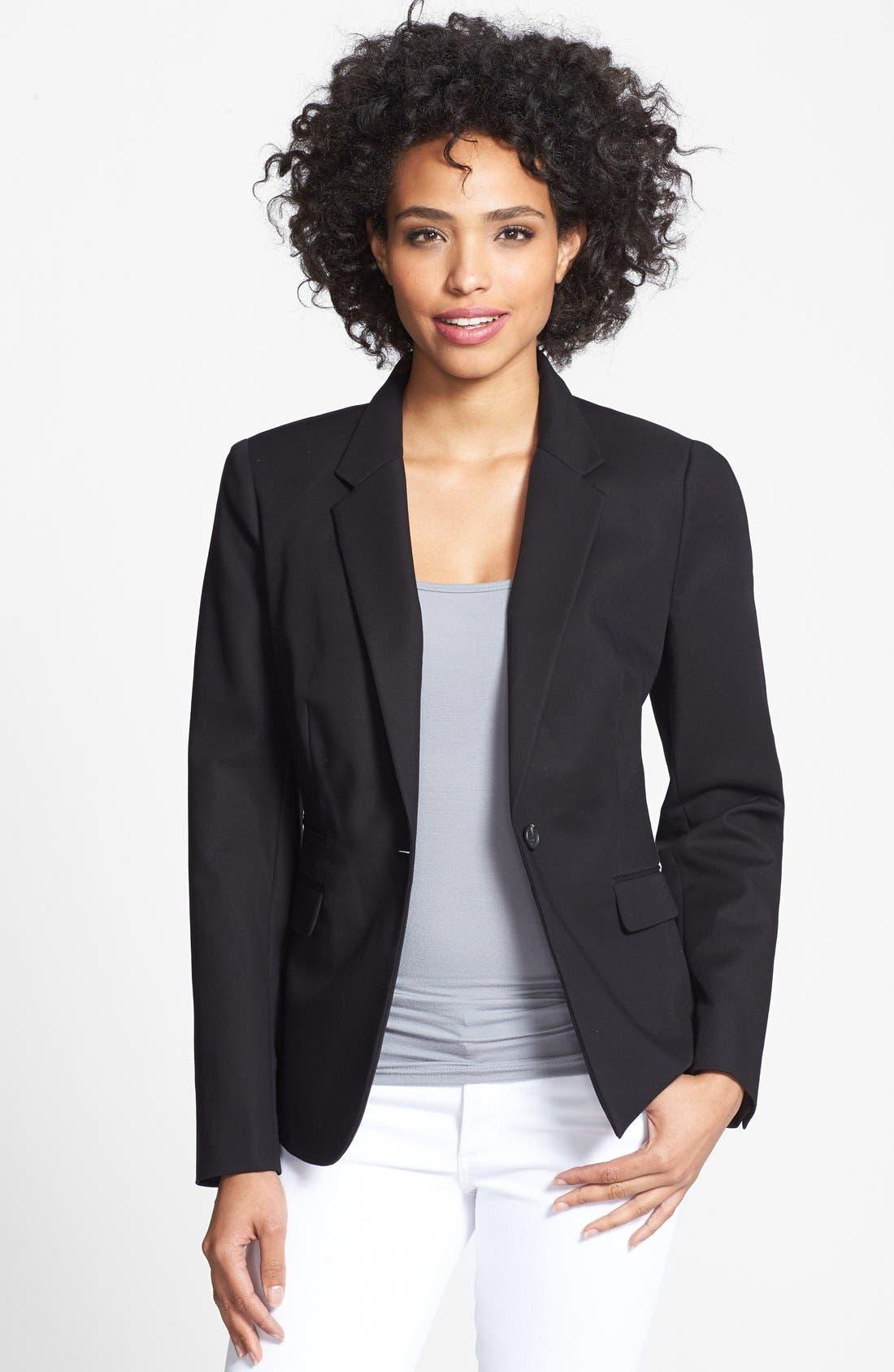 Stretch Cotton One-Button Blazer,                             Main thumbnail 1, color,                             Rich Black