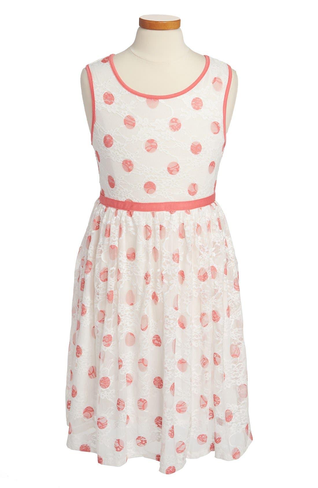 Dot Print Lace Dress,                         Main,                         color, Ivory/ Coral