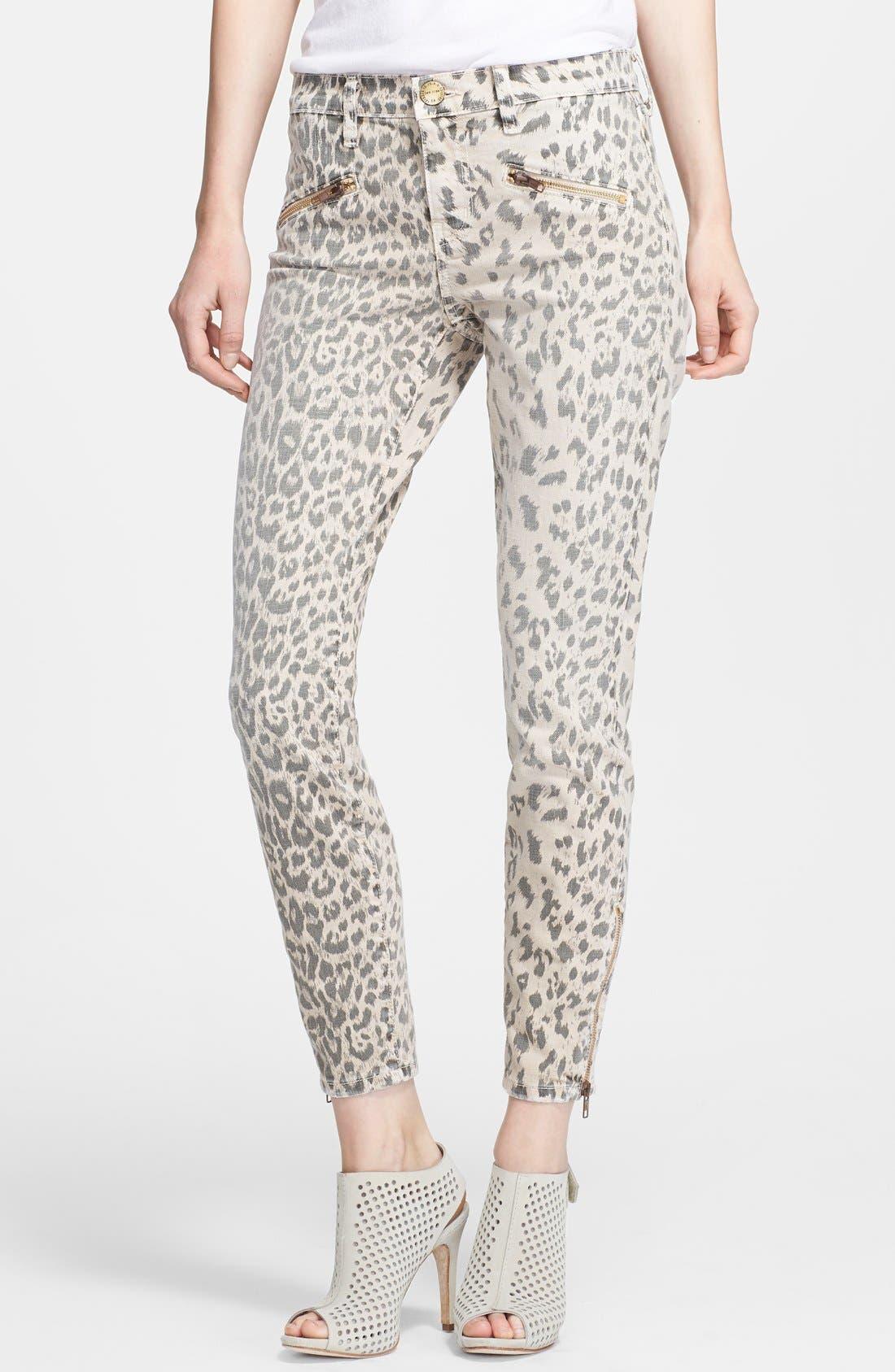 Alternate Image 1 Selected - Current/Elliott 'The Soho' Leopard Print Zip Skinny Jeans (Stone Leopard)