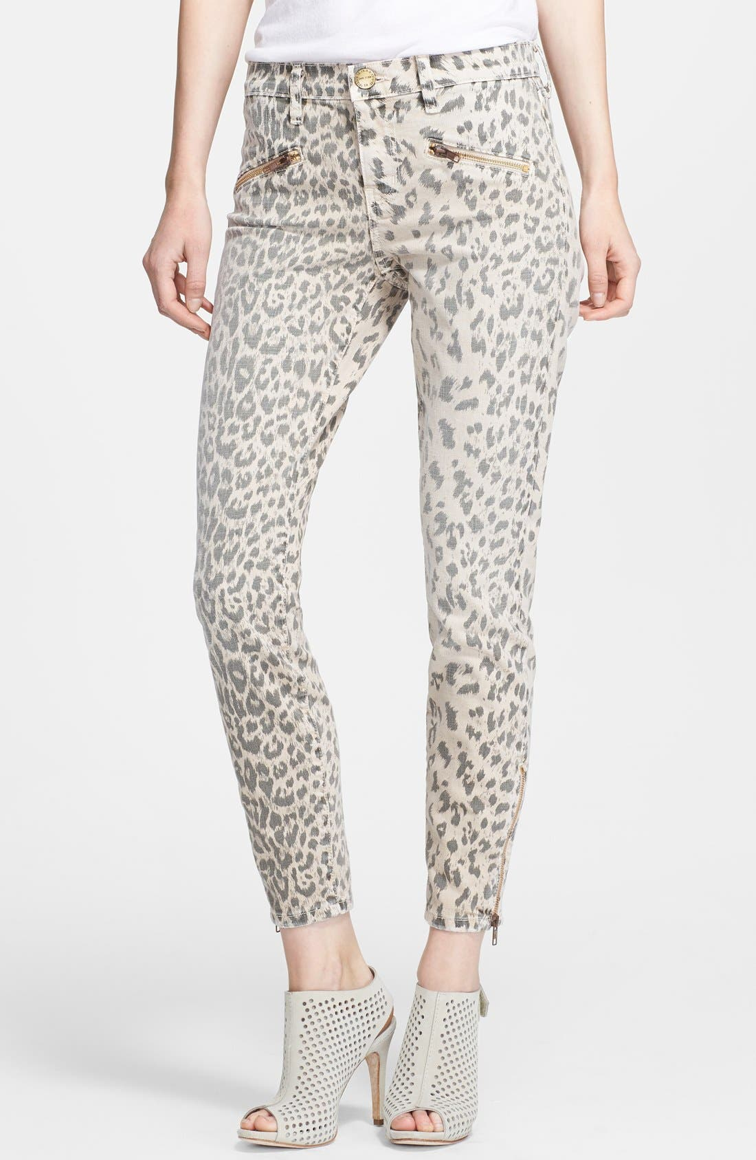 Main Image - Current/Elliott 'The Soho' Leopard Print Zip Skinny Jeans (Stone Leopard)