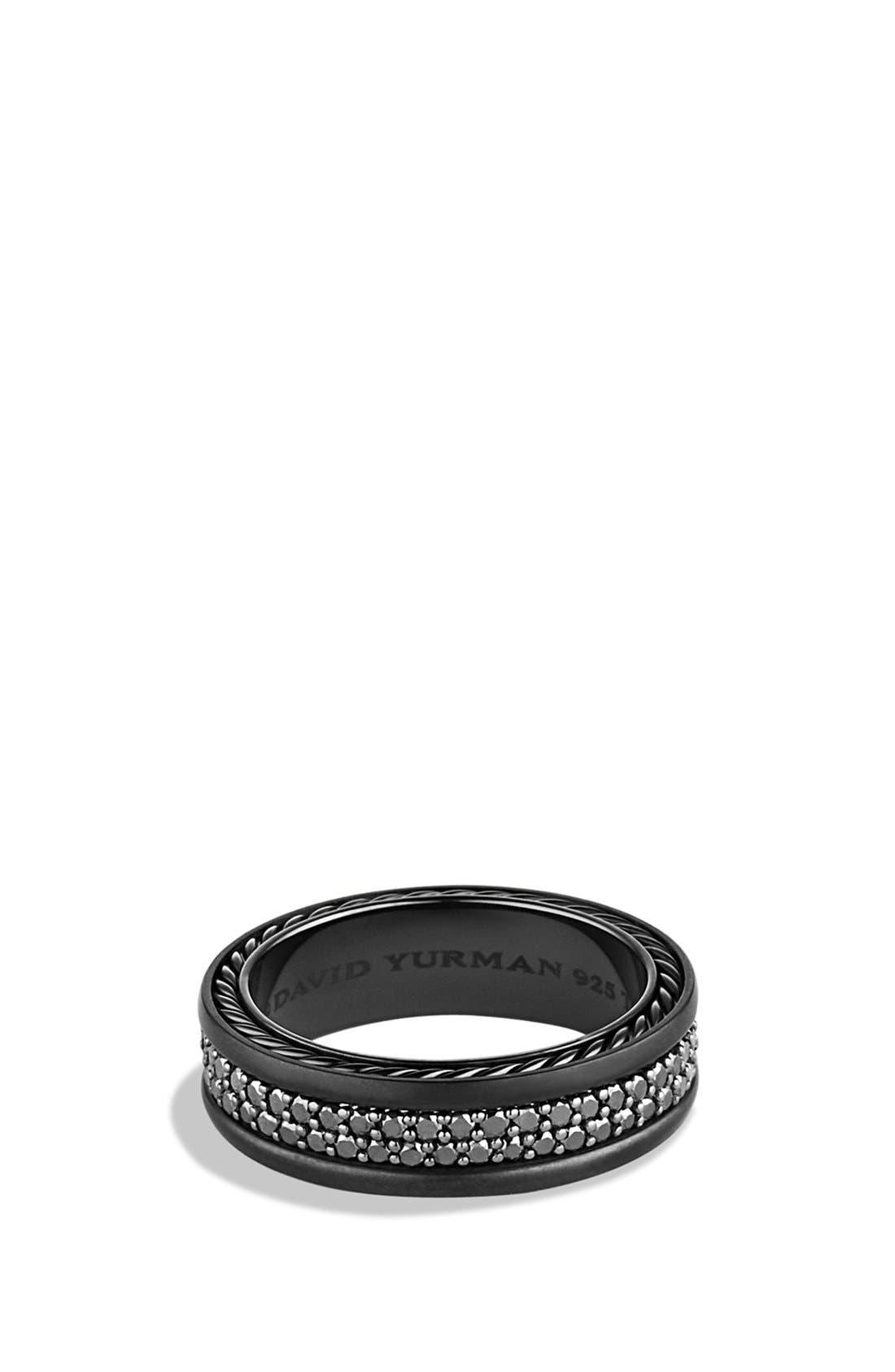 'Streamline' Two-Row Band Ring with Gems & Black Titanium,                         Main,                         color, Black Diamond