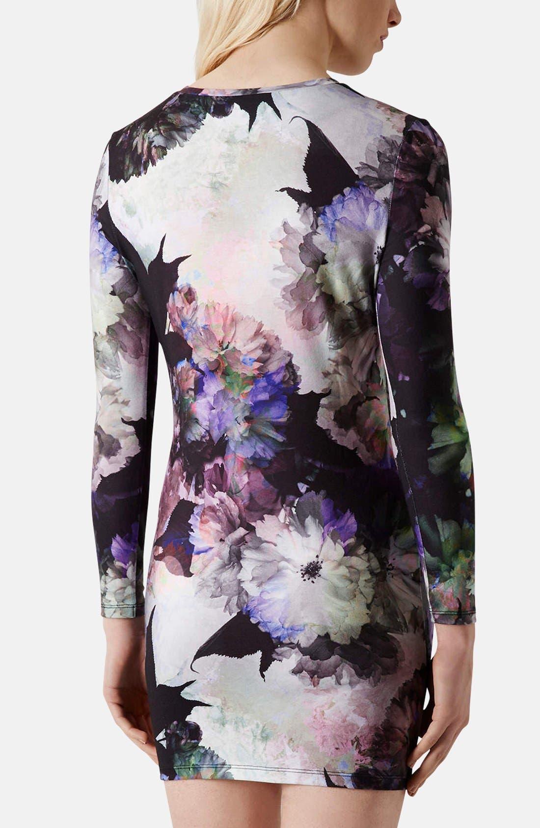 Alternate Image 2  - Topshop Floral Print Body-Con Dress (Petite)