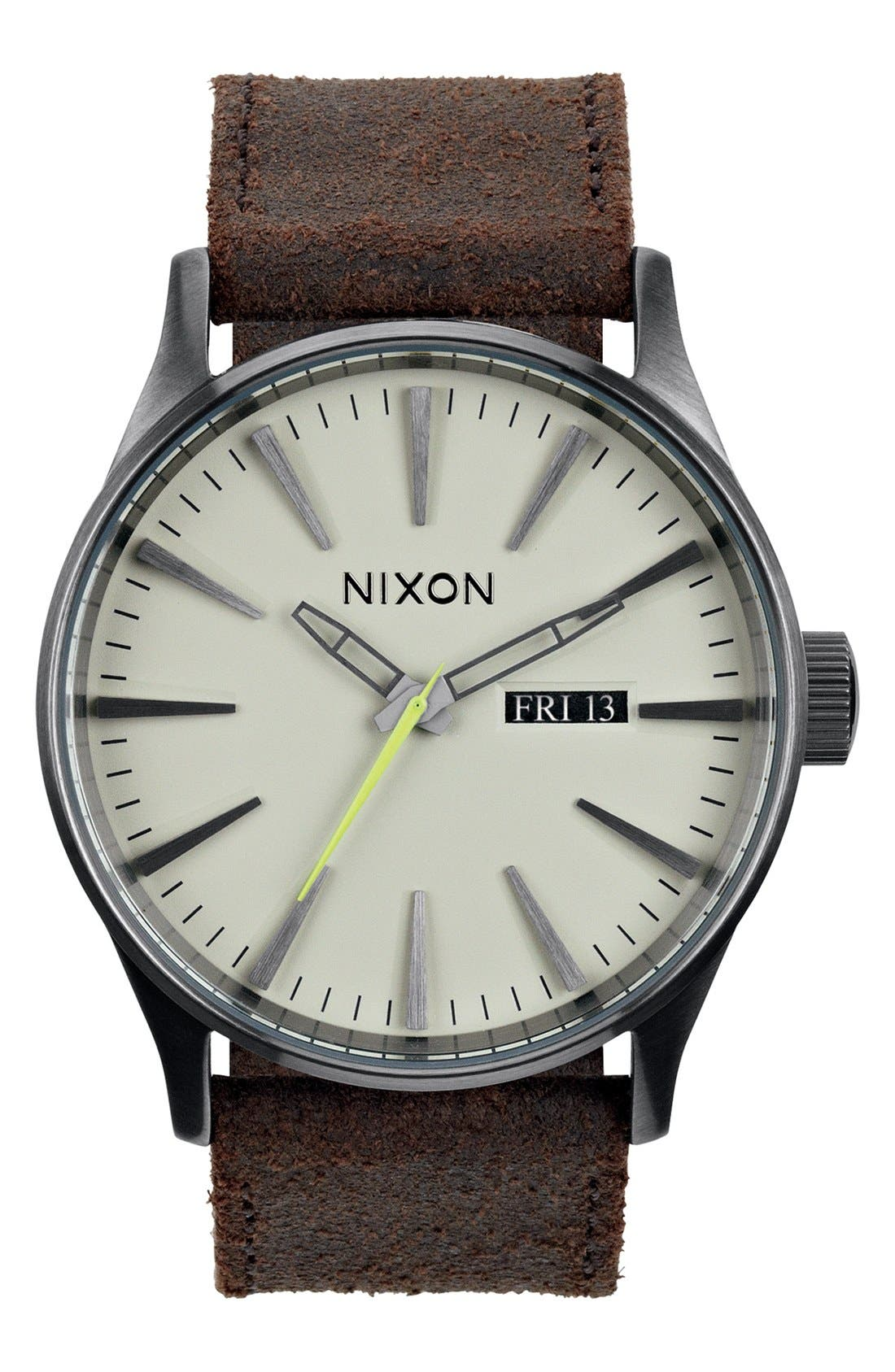 Alternate Image 1 Selected - Nixon The Sentry Leather Strap Watch, 42mm