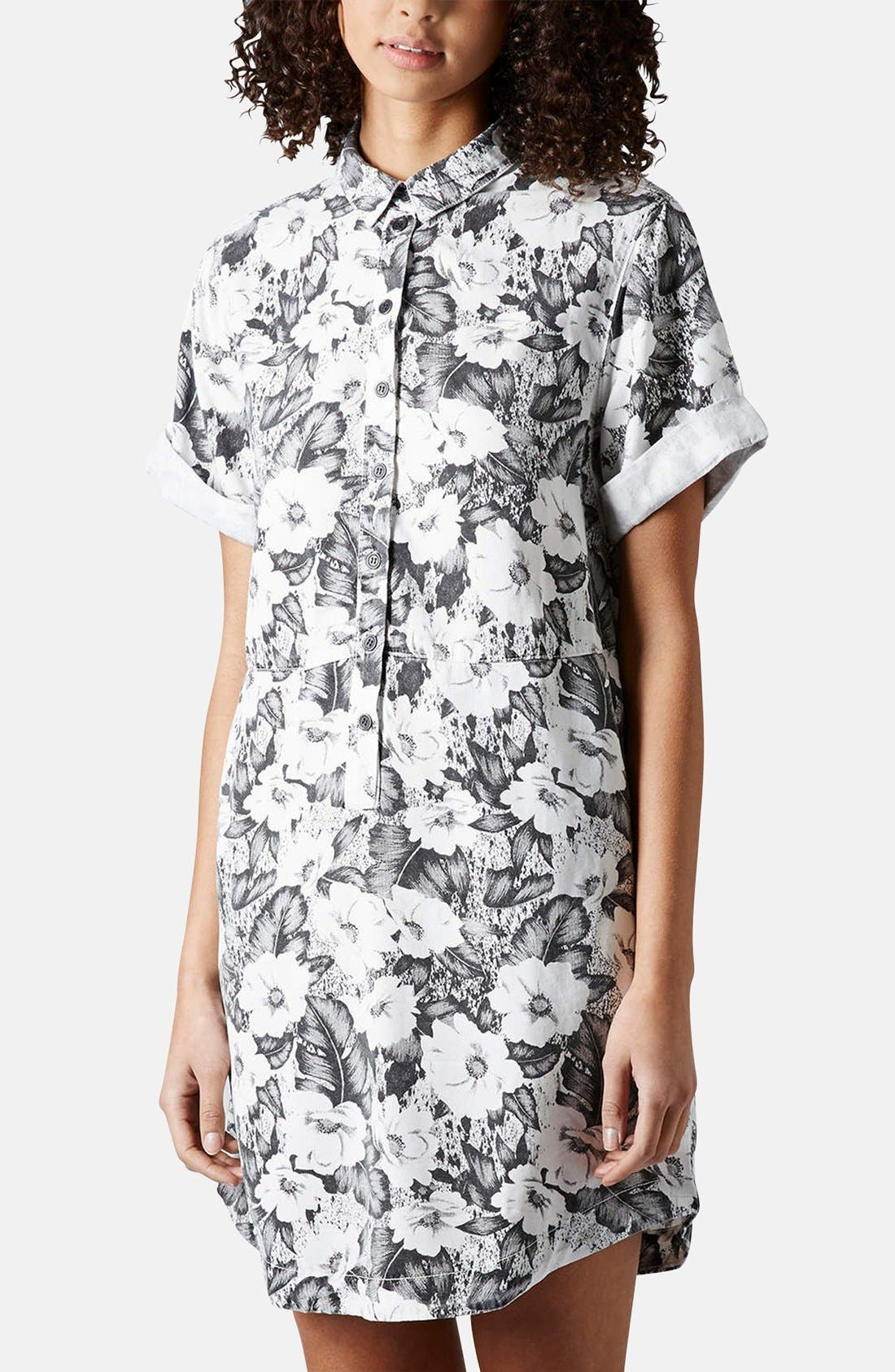 Alternate Image 1 Selected - Topshop 'Aloha' Print Shirt Dress