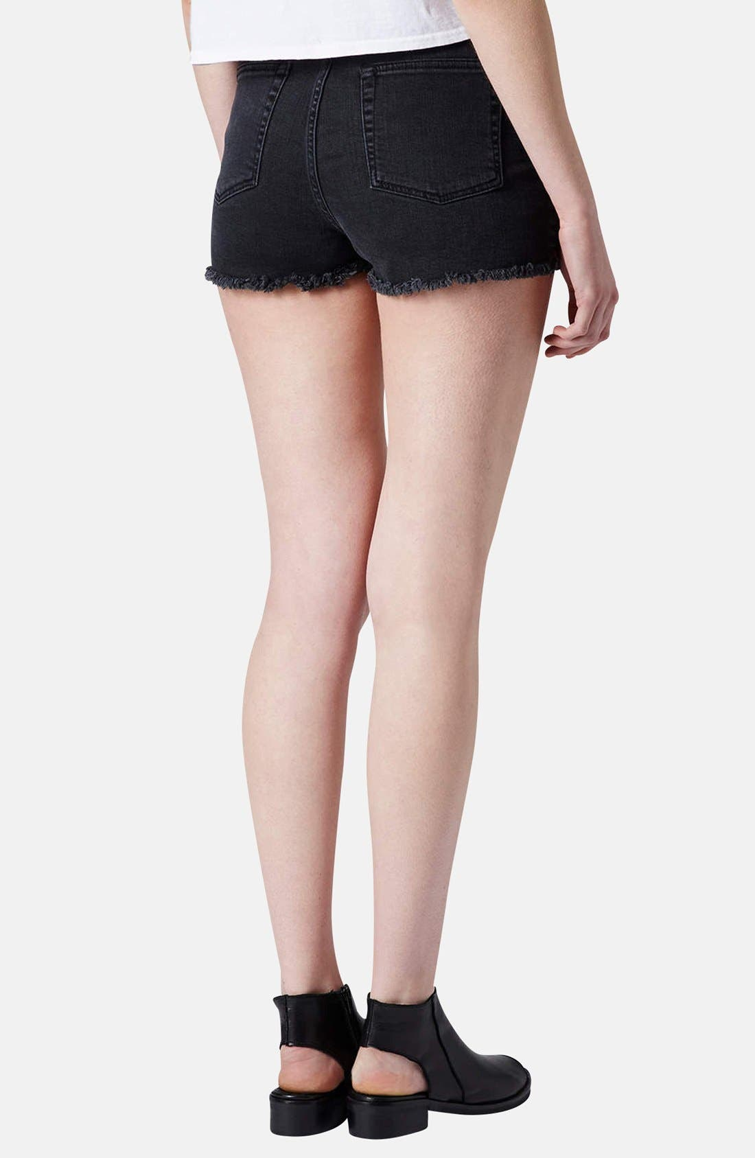 Alternate Image 2  - Topshop Moto Embroidered Denim Cutoff Shorts