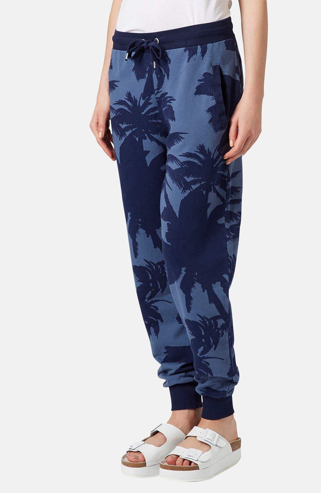 Main Image - Topshop Palm Print Track Pants