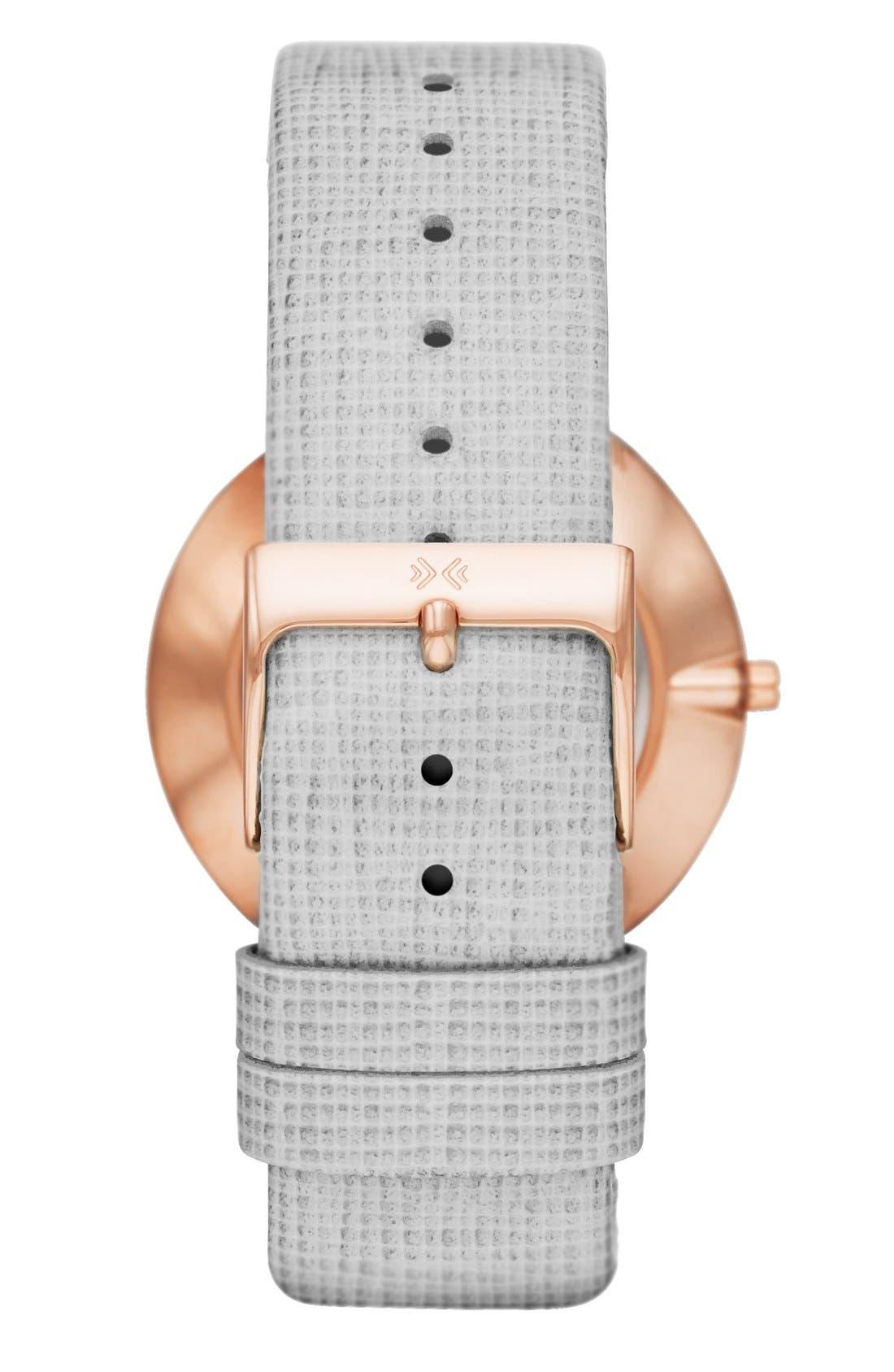 Alternate Image 2  - Skagen Crystal Bezel Pattern Leather Strap Watch, 34mm