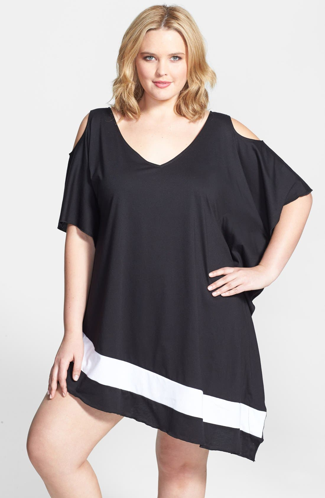 Alternate Image 1 Selected - Becca Etc. 'Day & Night' Cutout Shoulder Asymmetrical Cover-Up Dress (Plus Size)