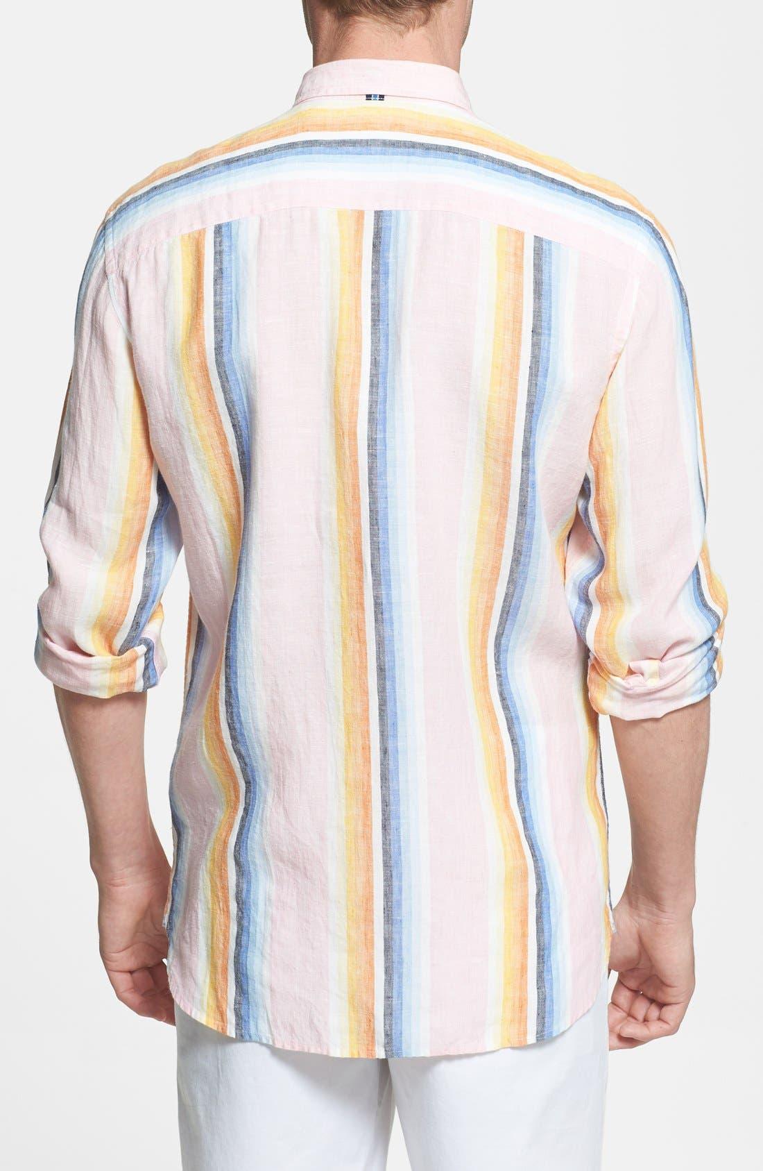 Alternate Image 2  - Façonnable 'Azur' Club Fit Stripe Linen Sport Shirt