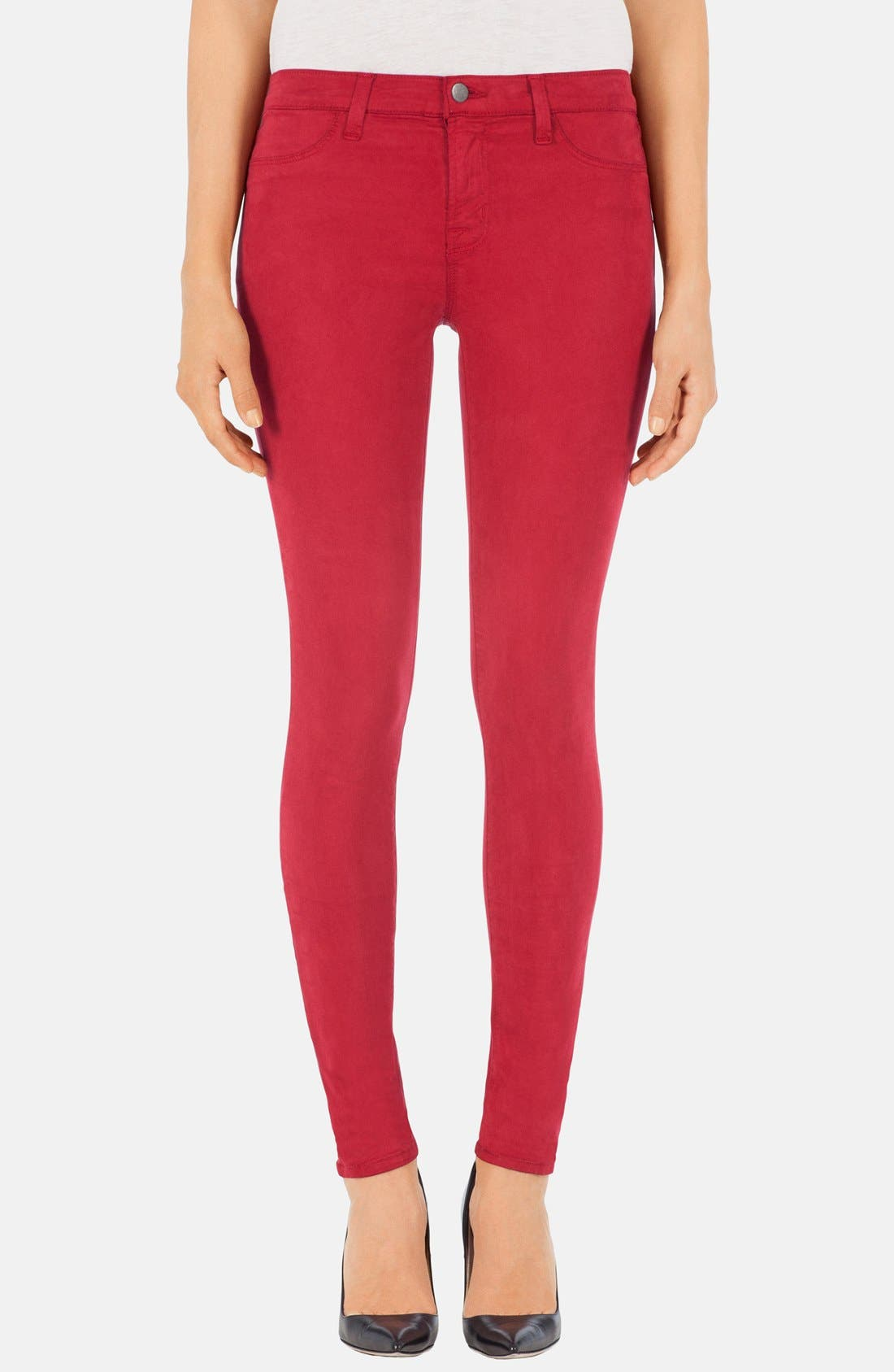 Main Image - J Brand '485' Mid Rise Super Skinny Jeans (Carnelian)
