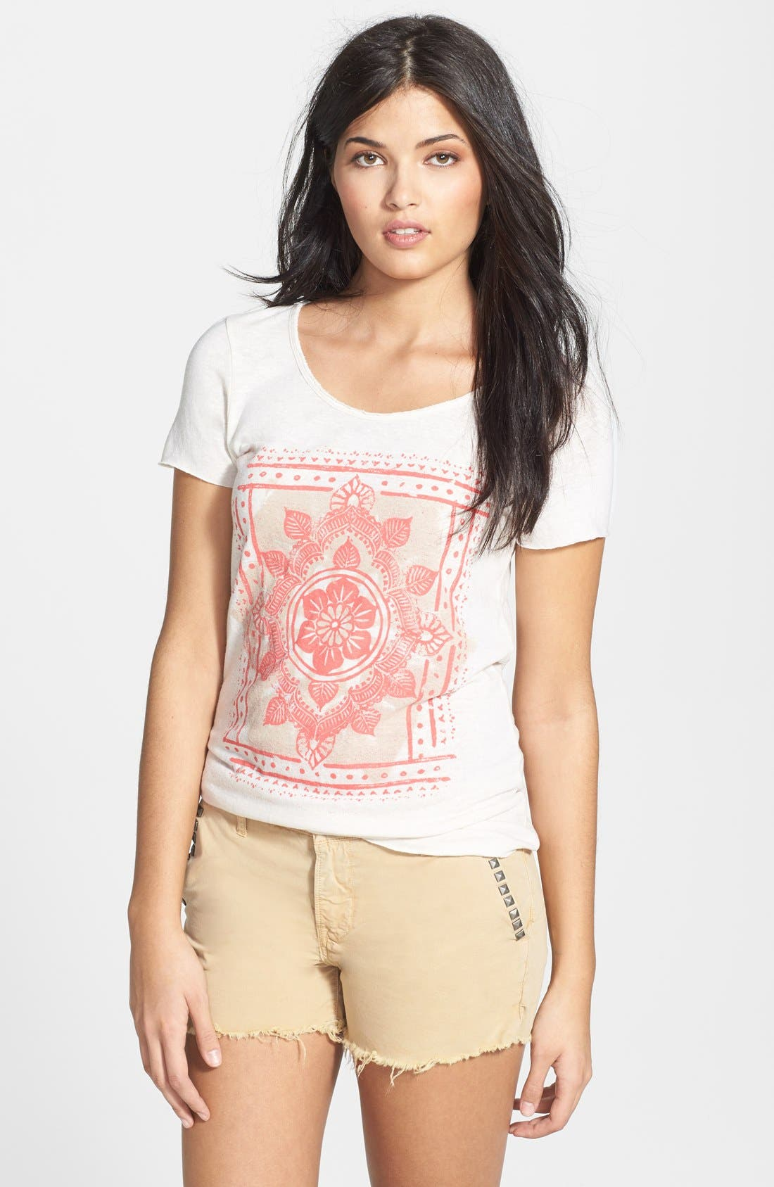 Alternate Image 1 Selected - Lucky Brand Watercolor Print Scoop Neck Tee