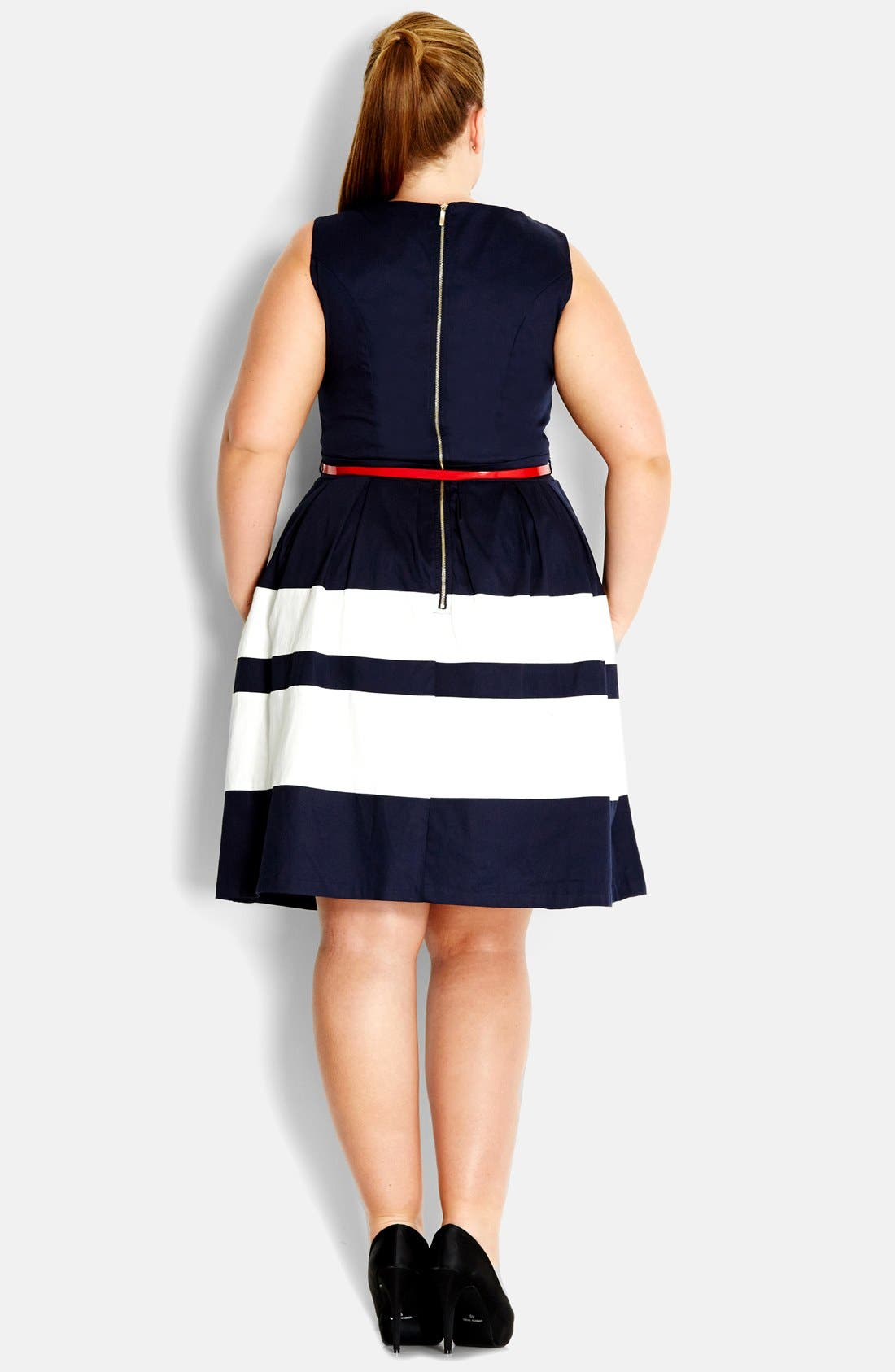 Alternate Image 2  - City Chic 'Landlover' Belted Fit & Flare Dress (Plus Size)
