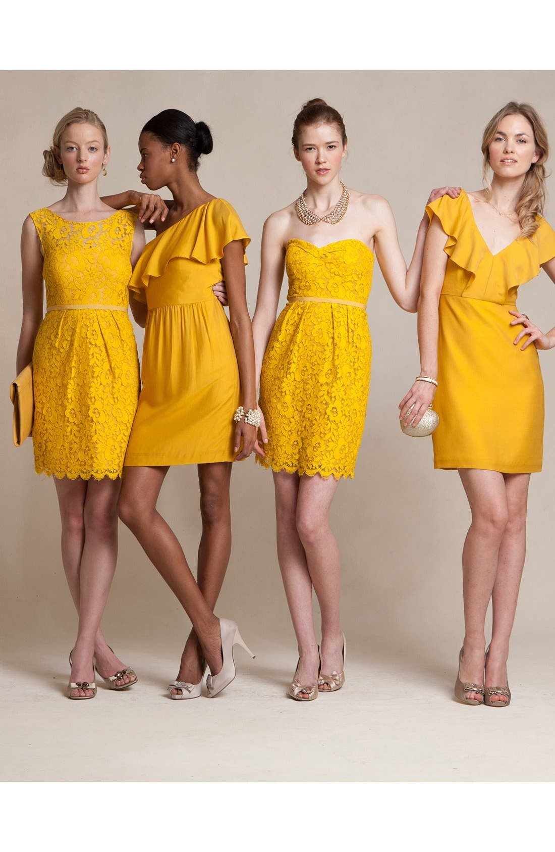 Harlow Tea Lace Sheath Dress,                             Alternate thumbnail 4, color,                             Mustard