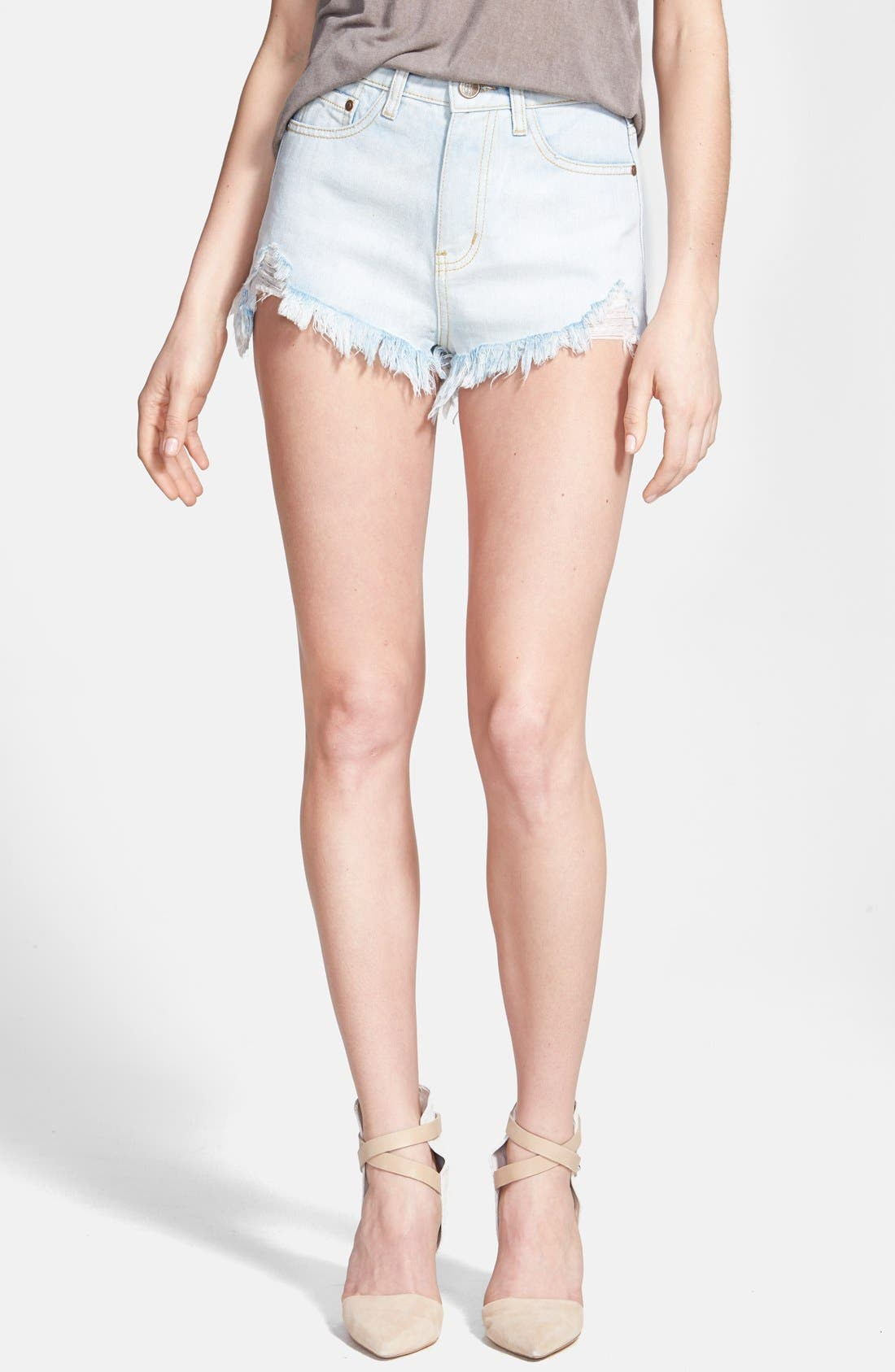 Alternate Image 1 Selected - Glamorous High Rise Distressed Denim Cutoff Shorts