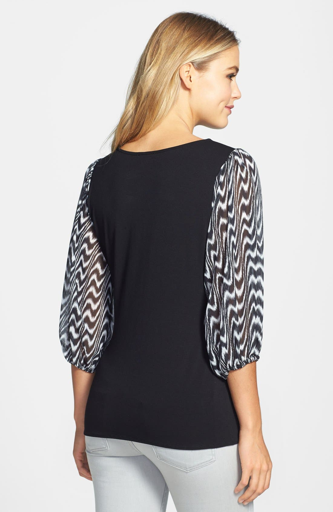 Alternate Image 2  - Vince Camuto Print Chiffon Sleeve Stretch Knit Top