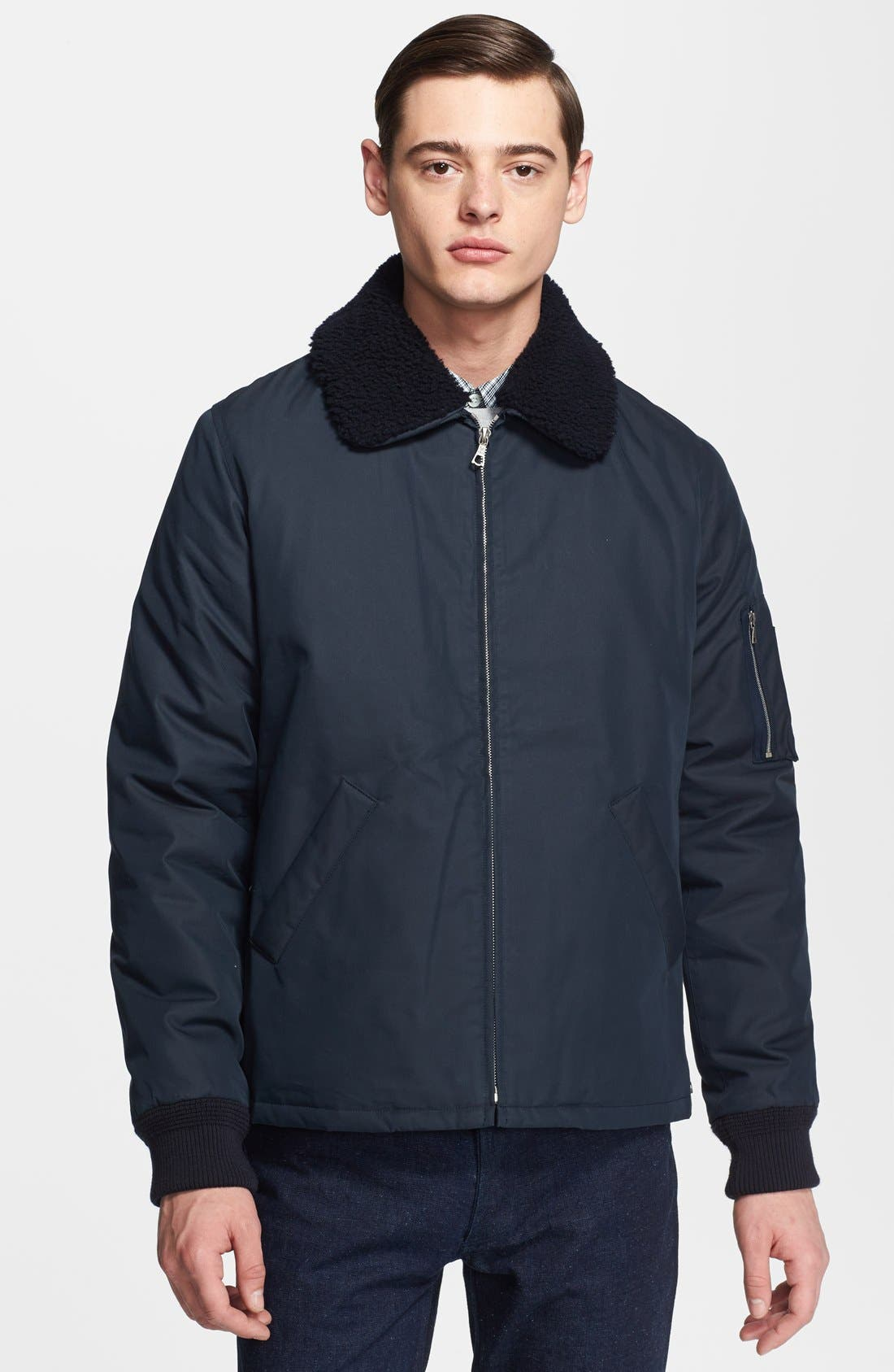 Alternate Image 1 Selected - A.P.C. 'Hunter' Jacket with Removable Shearling Collar