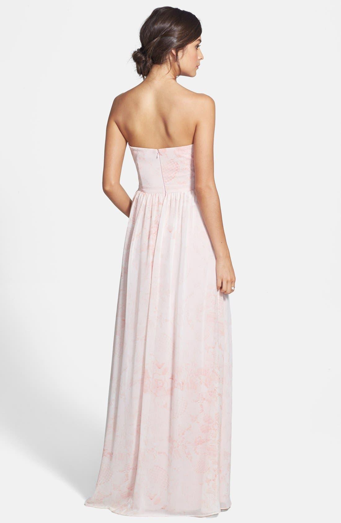 Alternate Image 2  - ERIN erin fetherston 'Rose' Print Chiffon Strapless Gown