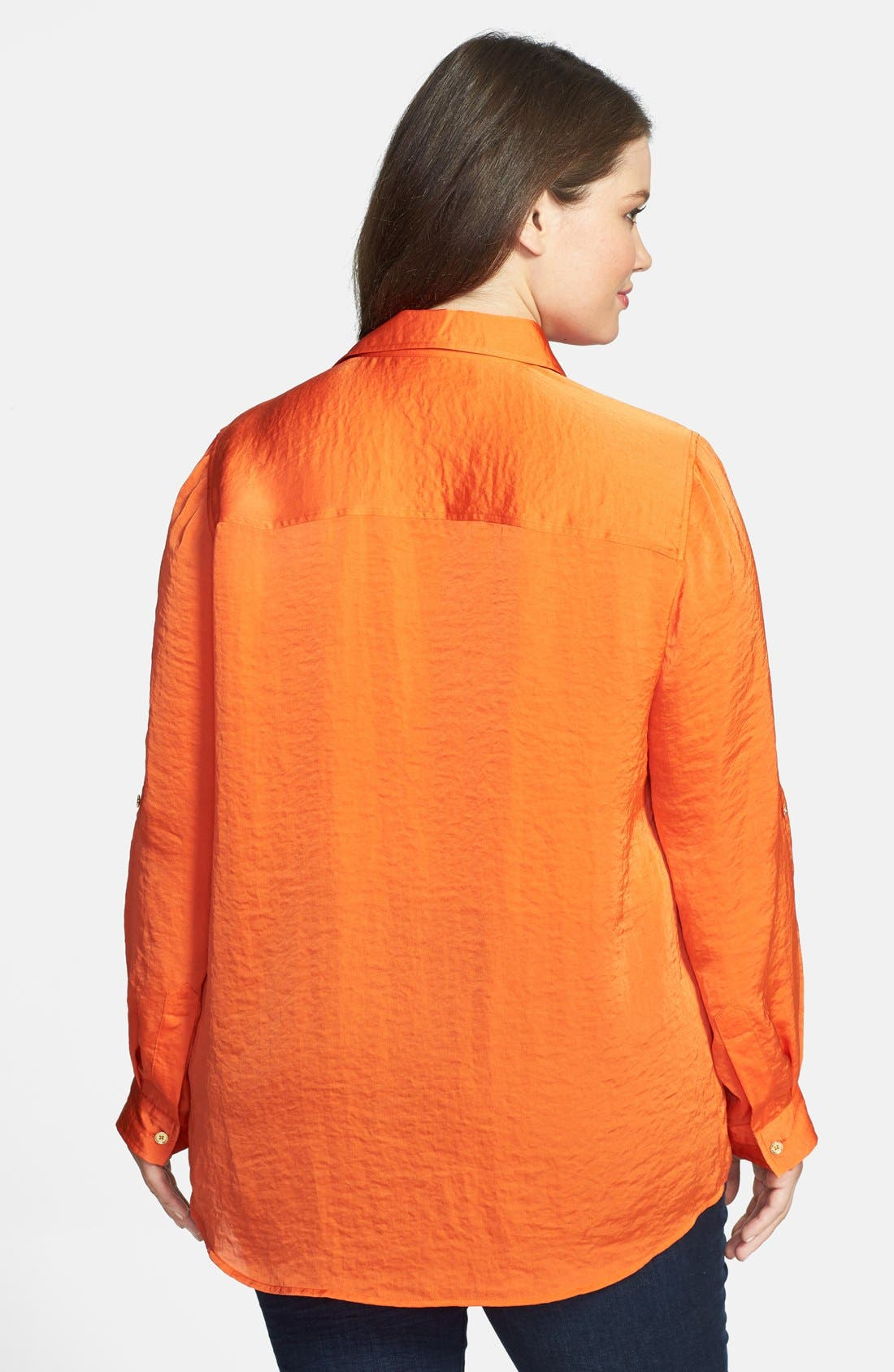 Alternate Image 2  - MICHAEL Michael Kors Roll Sleeve Hammered Satin Shirt (Plus Size)