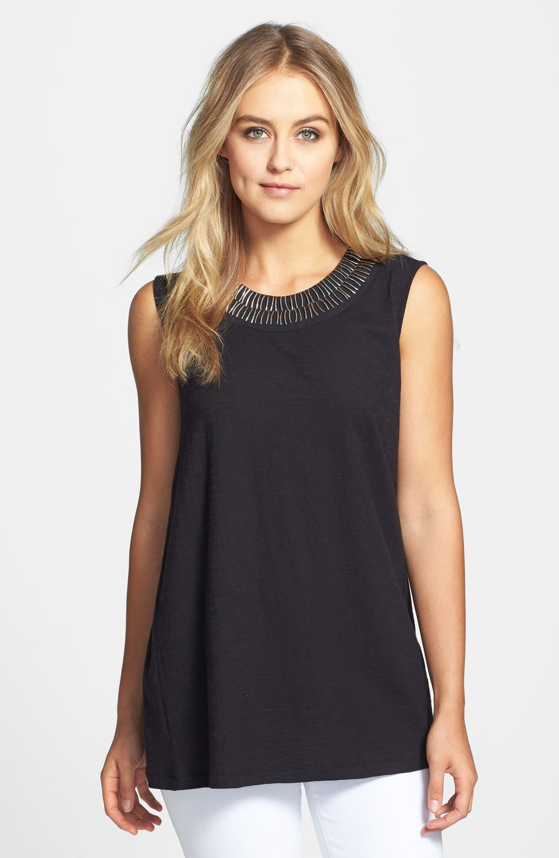 Alternate Image 1 Selected - Vince Camuto Embellished Neck Sleeveless Top