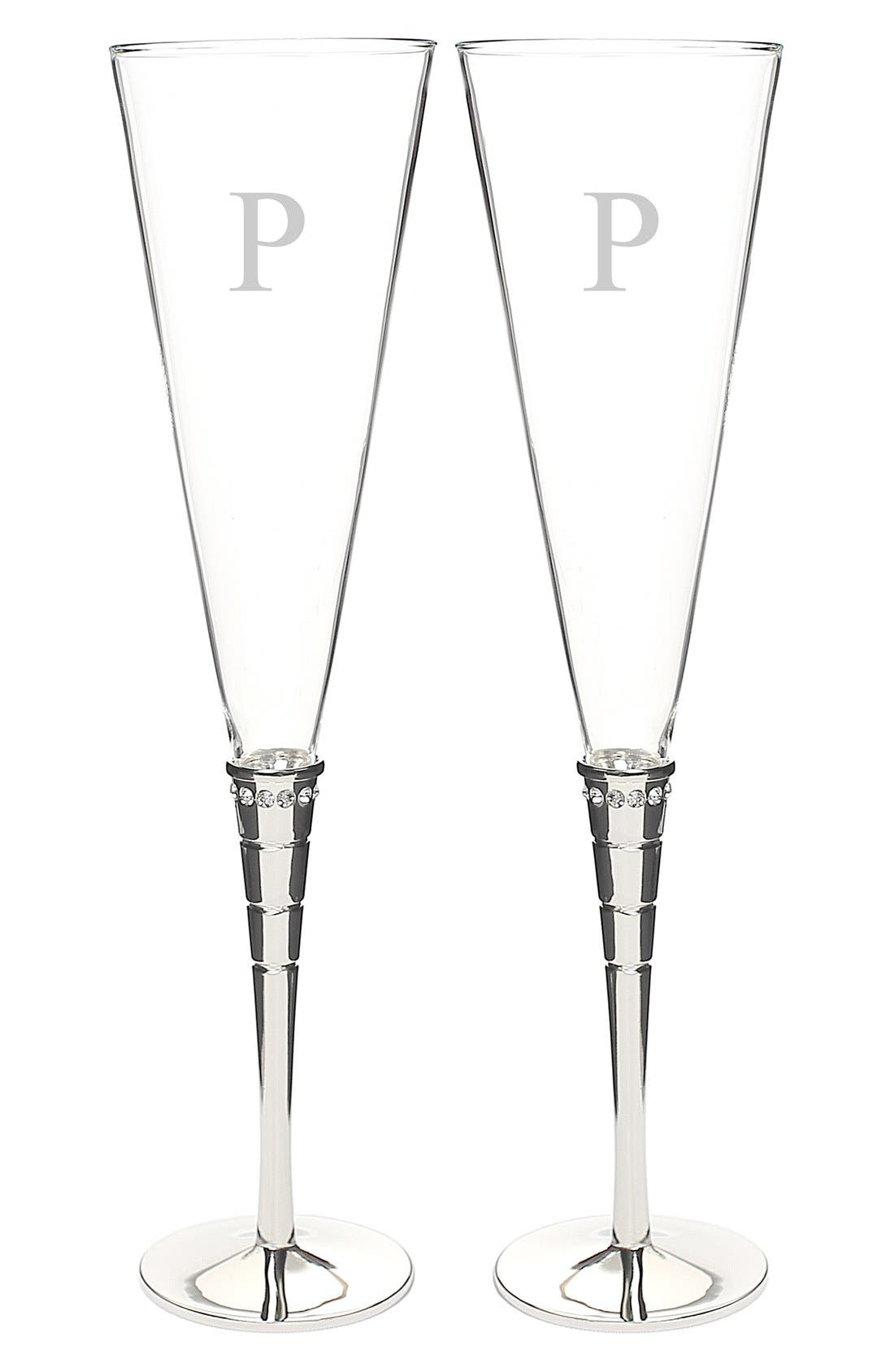 Alternate Image 1 Selected - Cathy's Concepts 'Royal' Personalized Champagne Flutes (Set of 2)