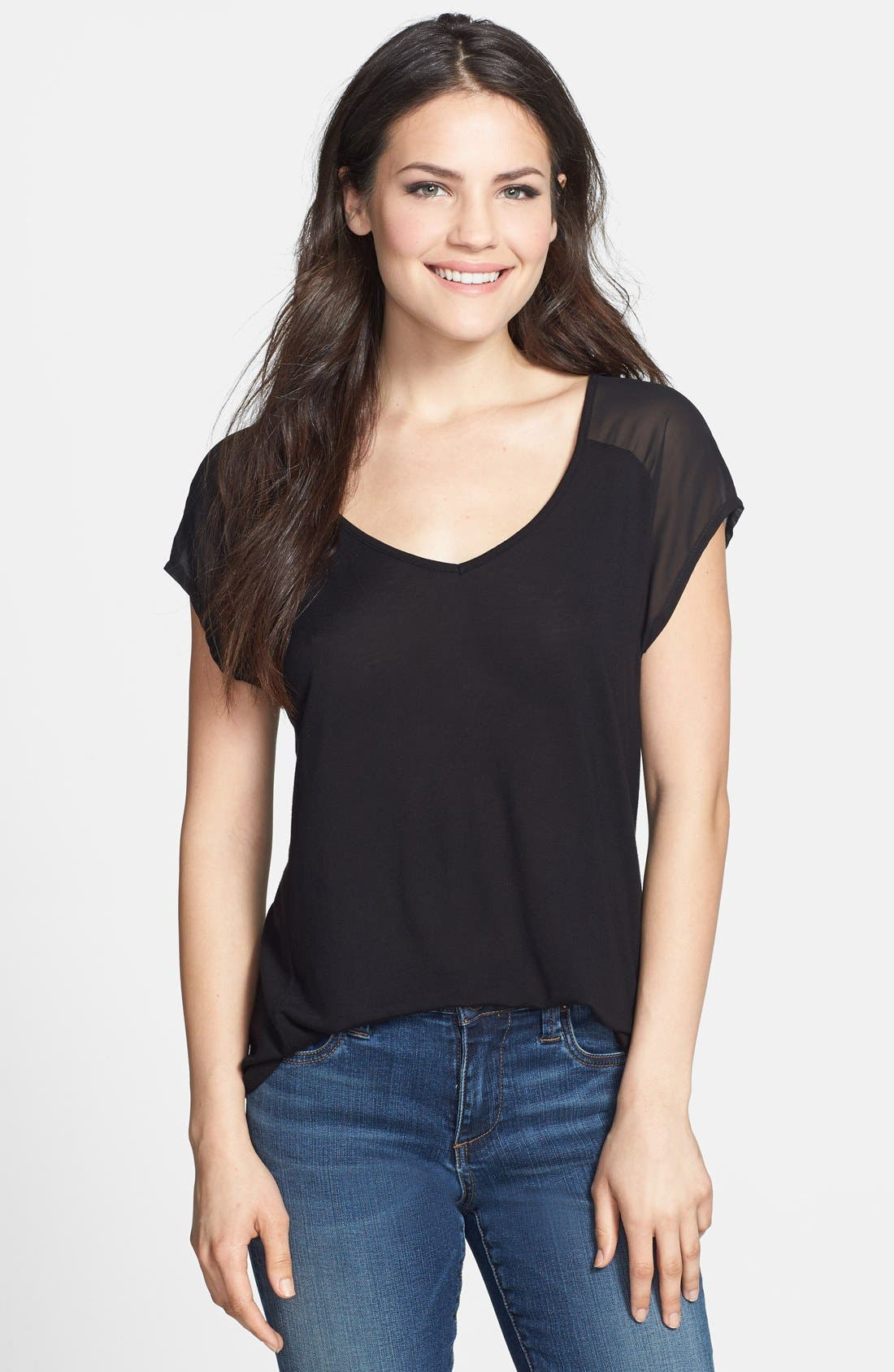 Main Image - Two by Vince Camuto Chiffon Sleeve V-Neck Tee