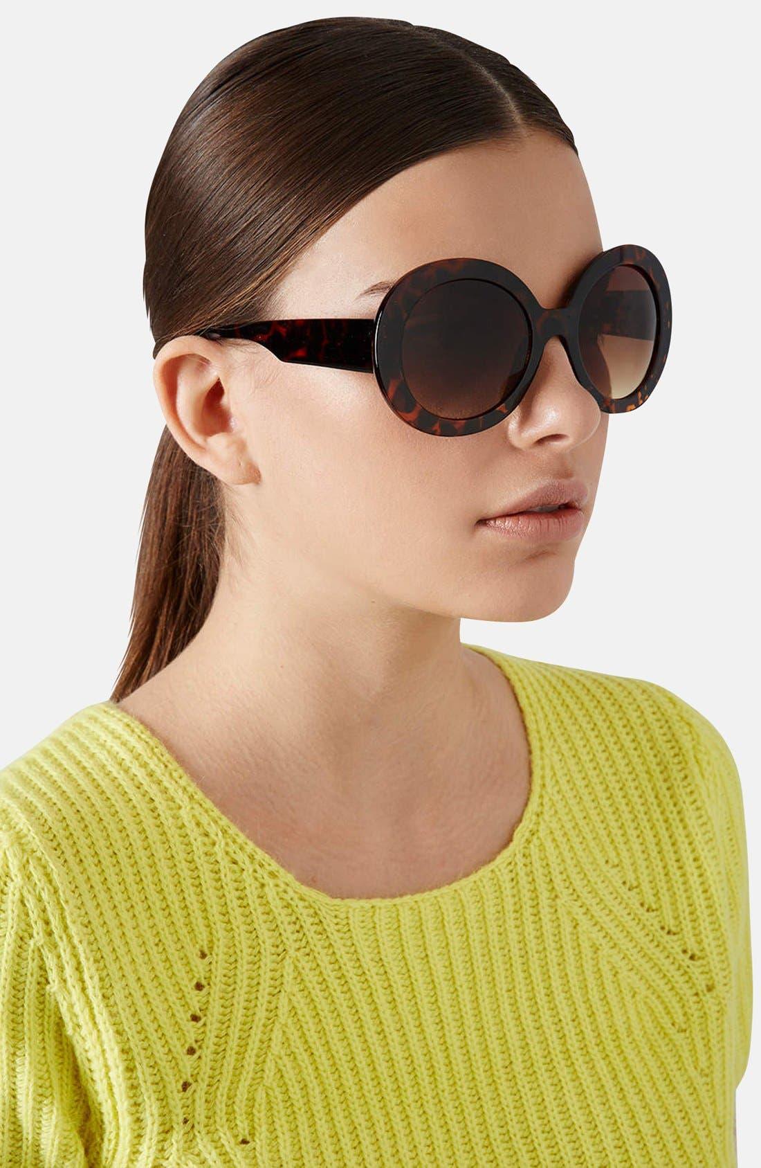 Alternate Image 2  - Topshop 'Petra' 54mm Oversized Round Sunglasses