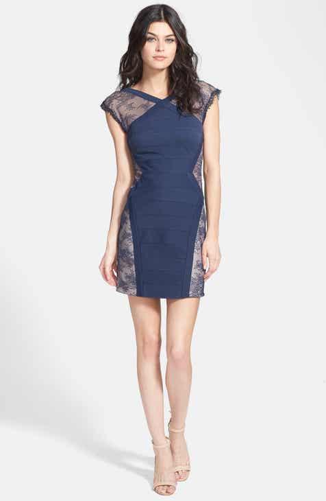 02c671582b7 BCBGMAXAZRIA 'Jess' Cap Sleeve Lace Panel Dress