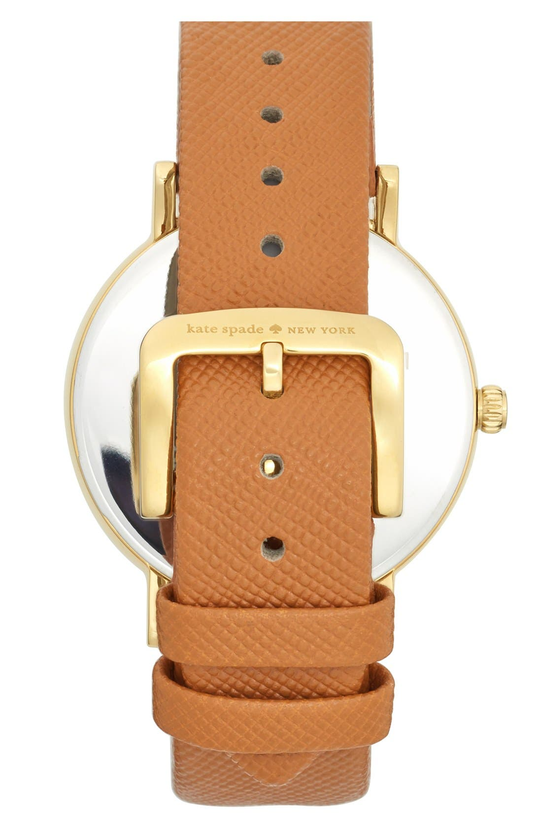 'metro grand' round leather strap watch, 38mm,                             Alternate thumbnail 2, color,                             Saddle