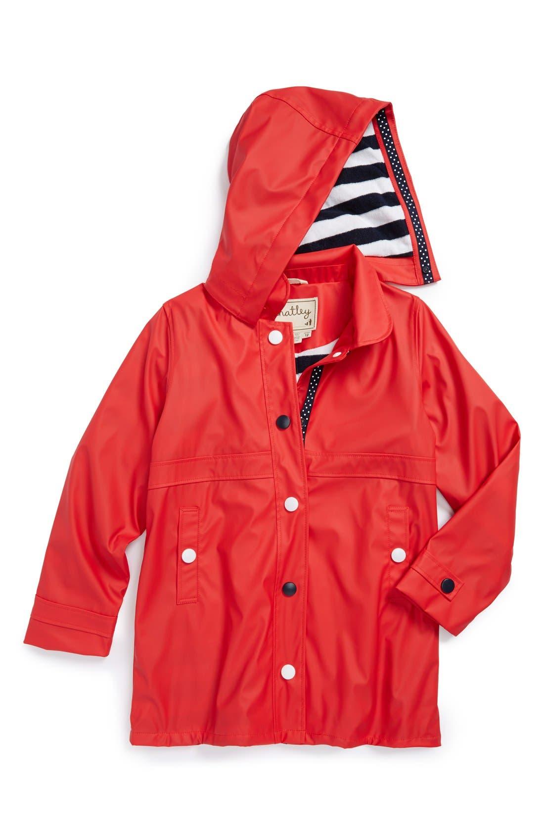 'Splash' Terry Lined Waterproof Rain Jacket,                             Main thumbnail 1, color,                             Red