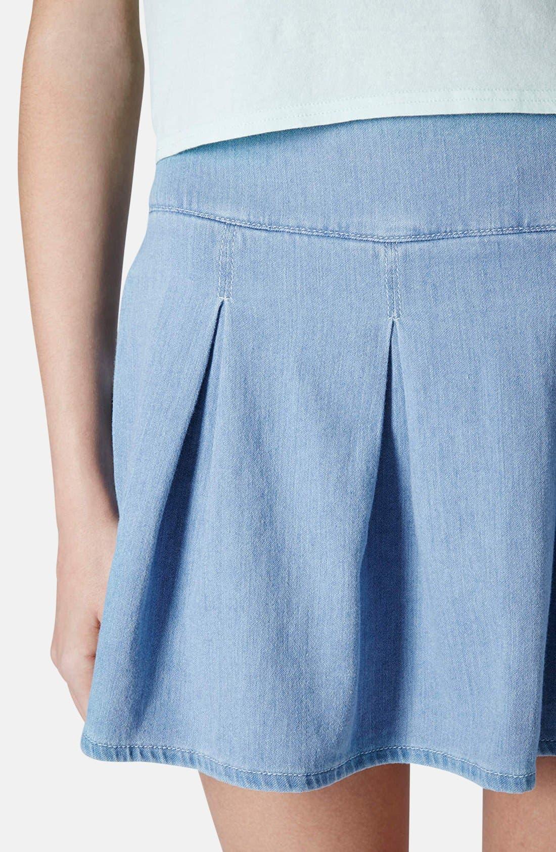 Moto Pleat Denim Skirt,                             Alternate thumbnail 4, color,                             Blue
