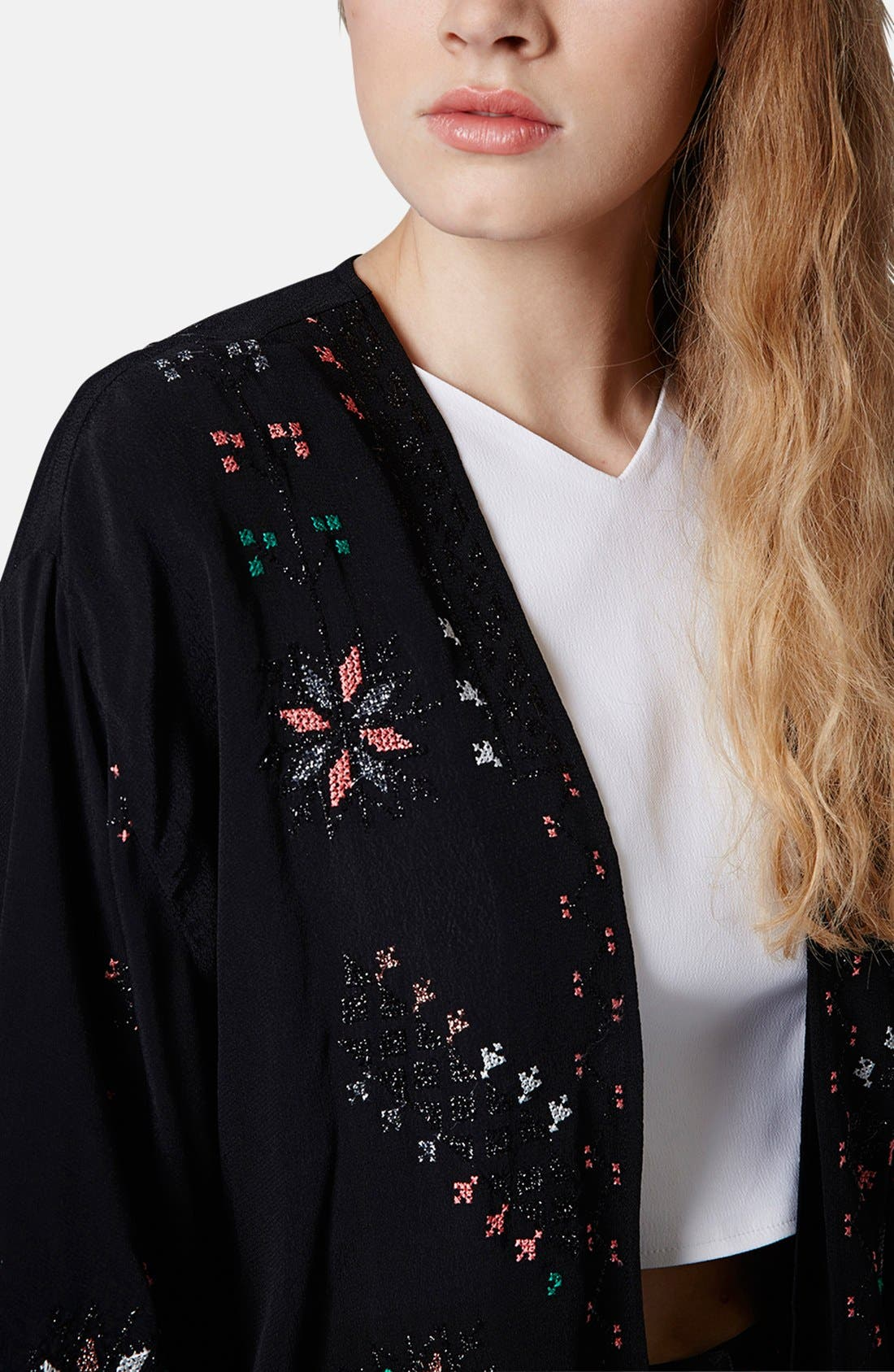 Alternate Image 4  - Topshop Embroidered Kimono Jacket