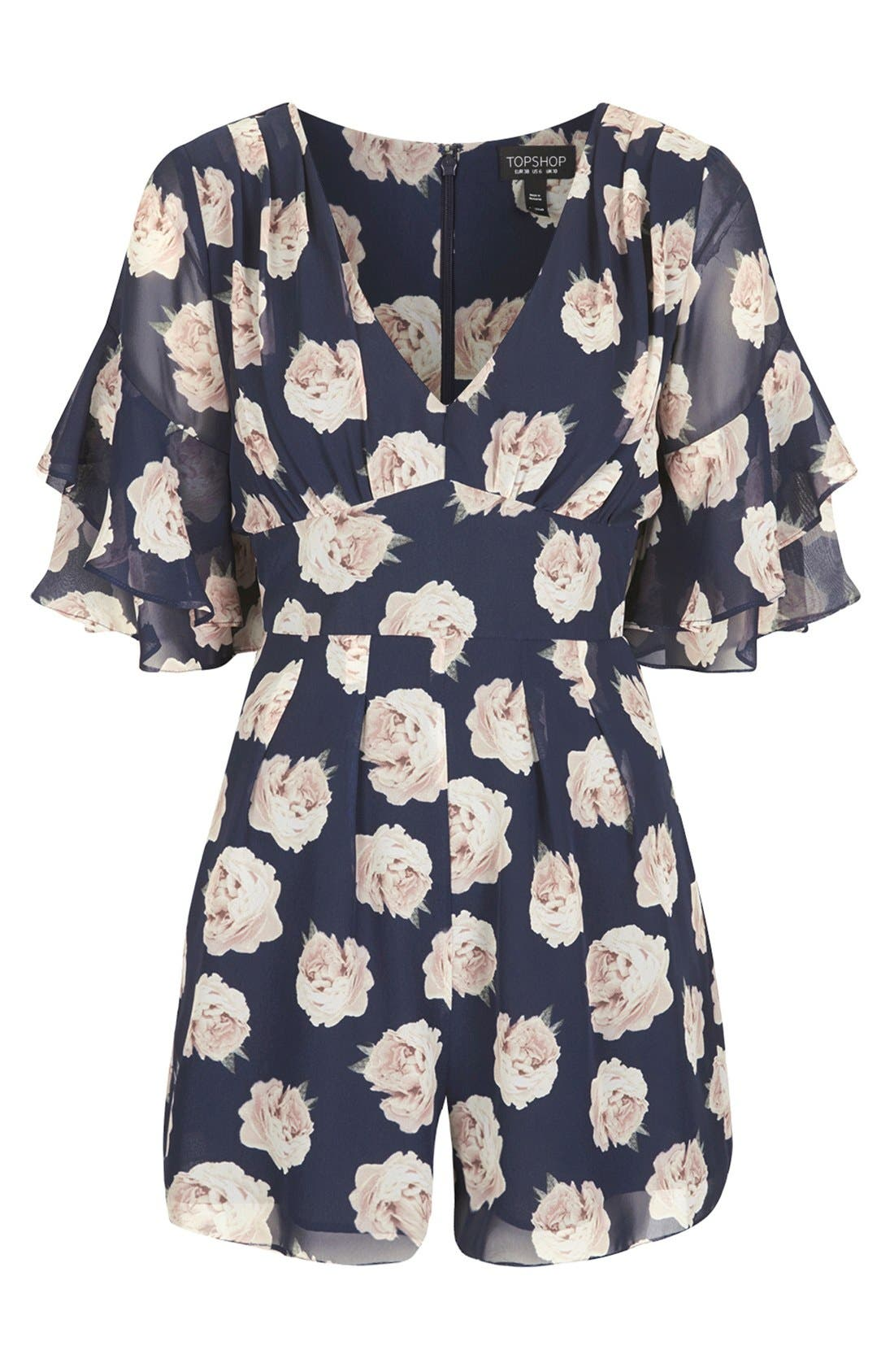 Alternate Image 3  - Topshop Ruffle Floral Chiffon Romper