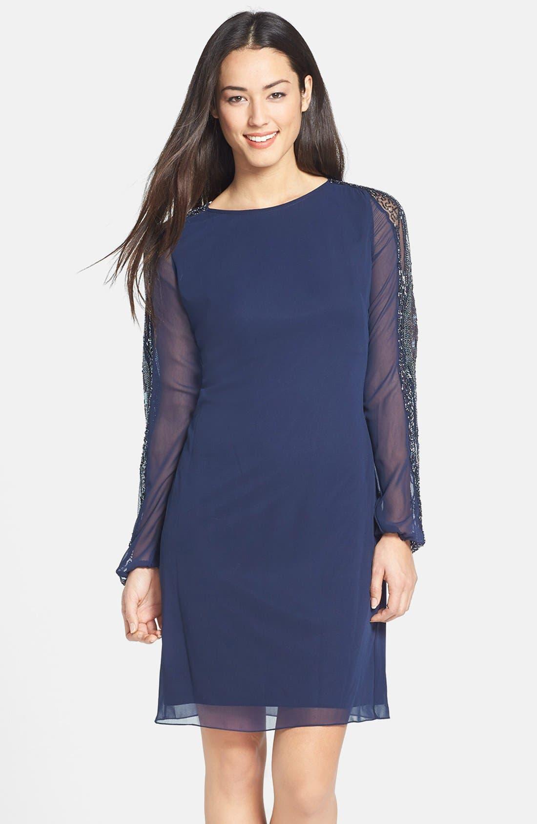 Main Image - JS Collections Embellished Blouson Sleeve Chiffon Dress