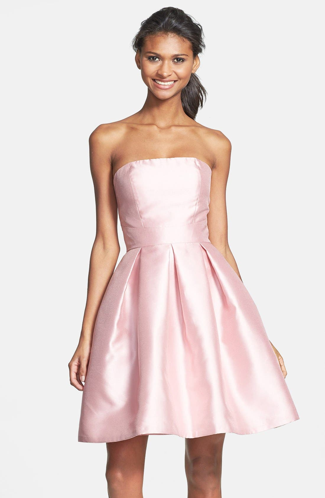 Main Image - ML Monique Lhuillier Bridesmaids Strapless Pleated Fit & Flare Dress