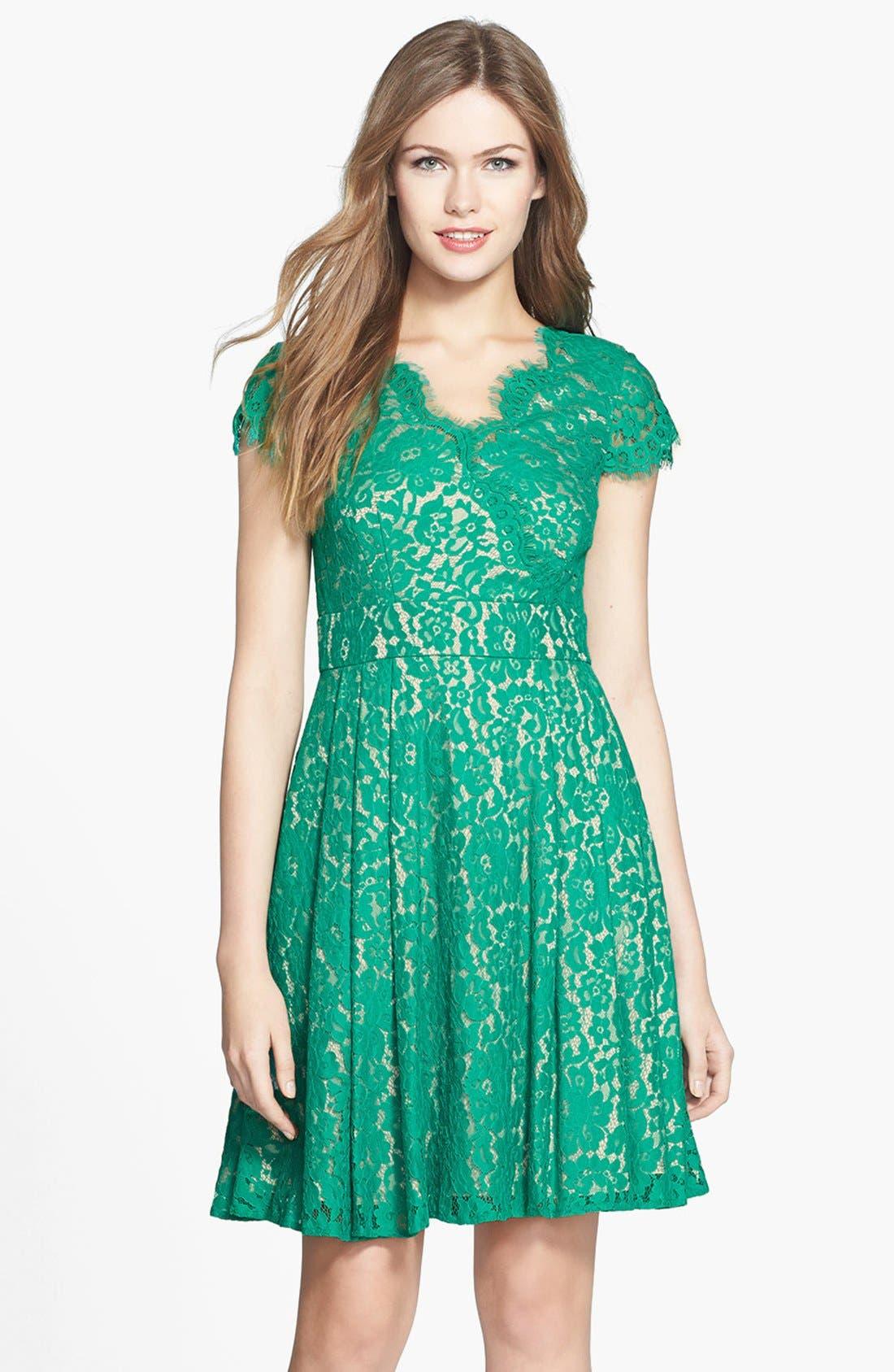 Alternate Image 1 Selected - Eliza J Short Sleeve Lace Fit & Flare Dress