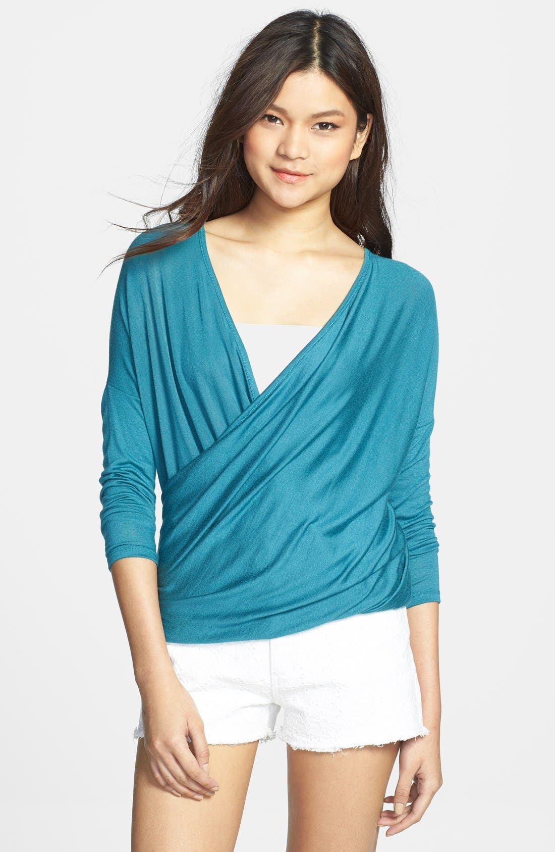 Alternate Image 1 Selected - Painted Threads Drape Front Tee (Juniors)