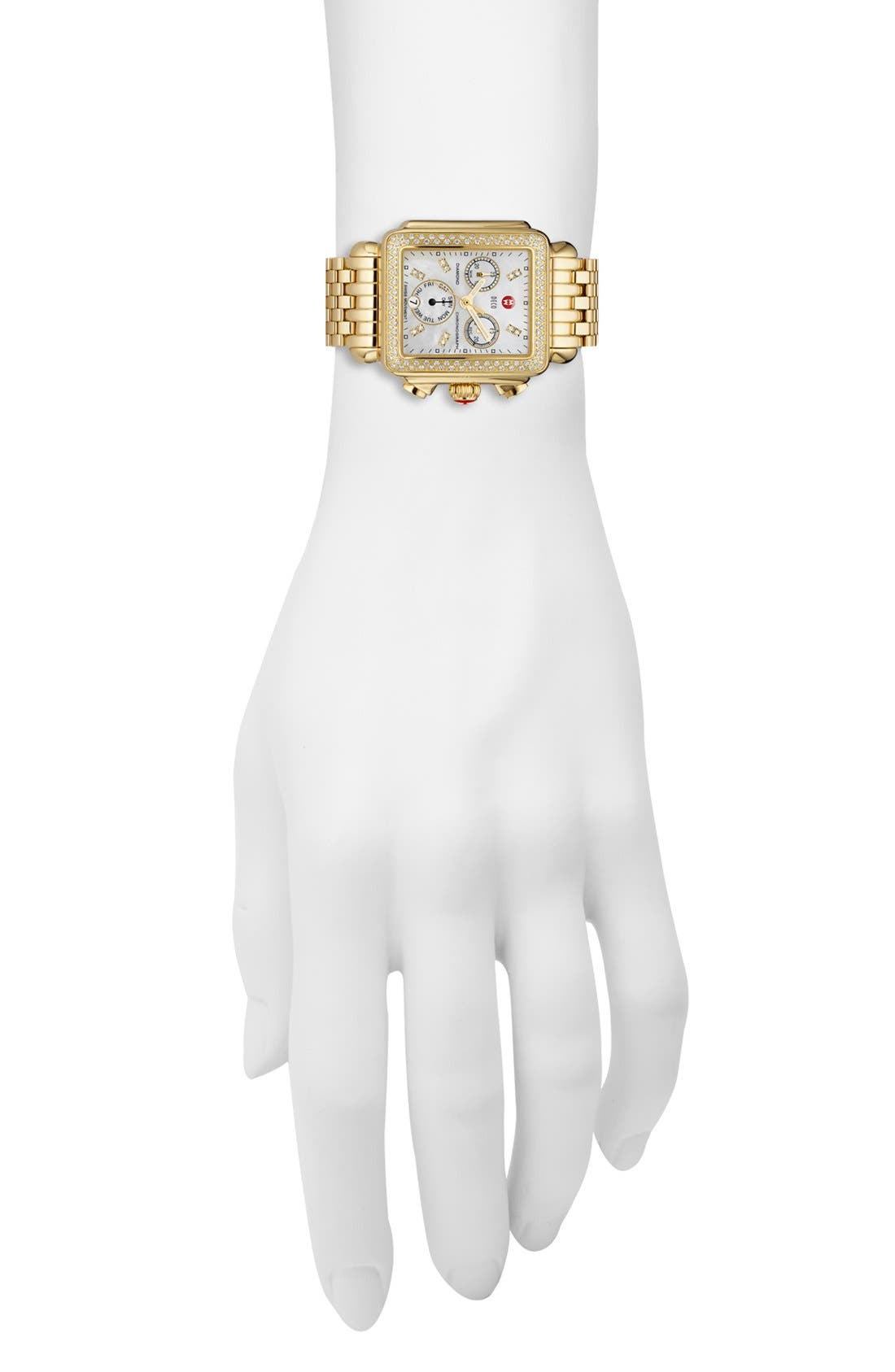 Deco Diamond Diamond Dial Gold Plated Watch Case, 33mm x 35mm,                             Alternate thumbnail 4, color,                             Gold