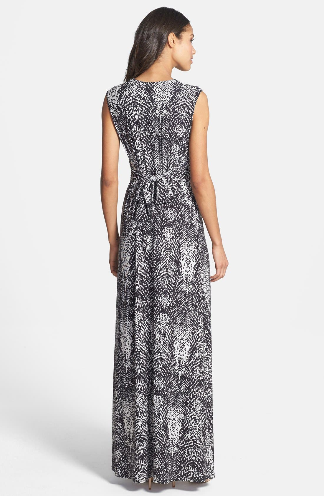 Alternate Image 2  - Eliza J Print Front Knot Jersey Maxi Dress